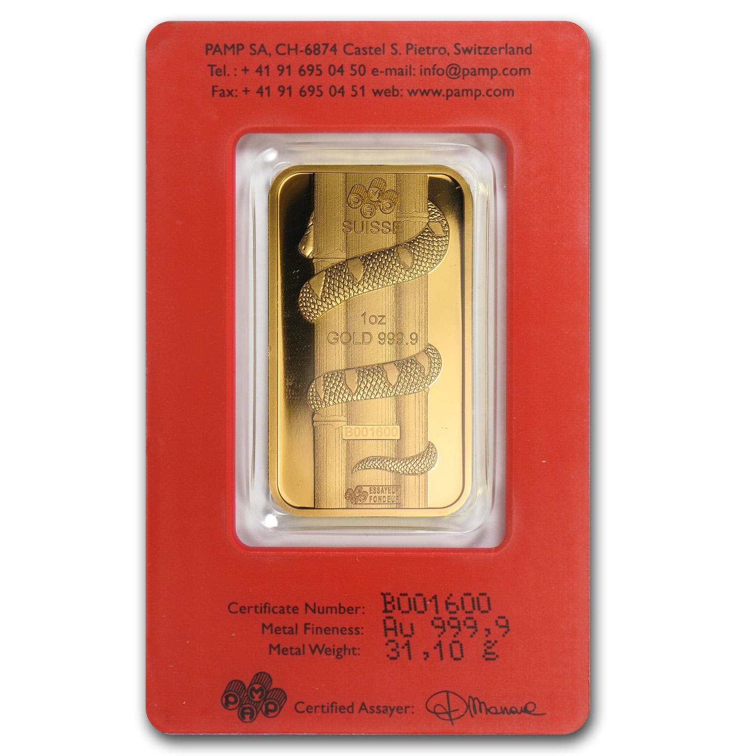 1 oz Gold Bars - Pamp Suisse (Year of the Snake, in Assay)