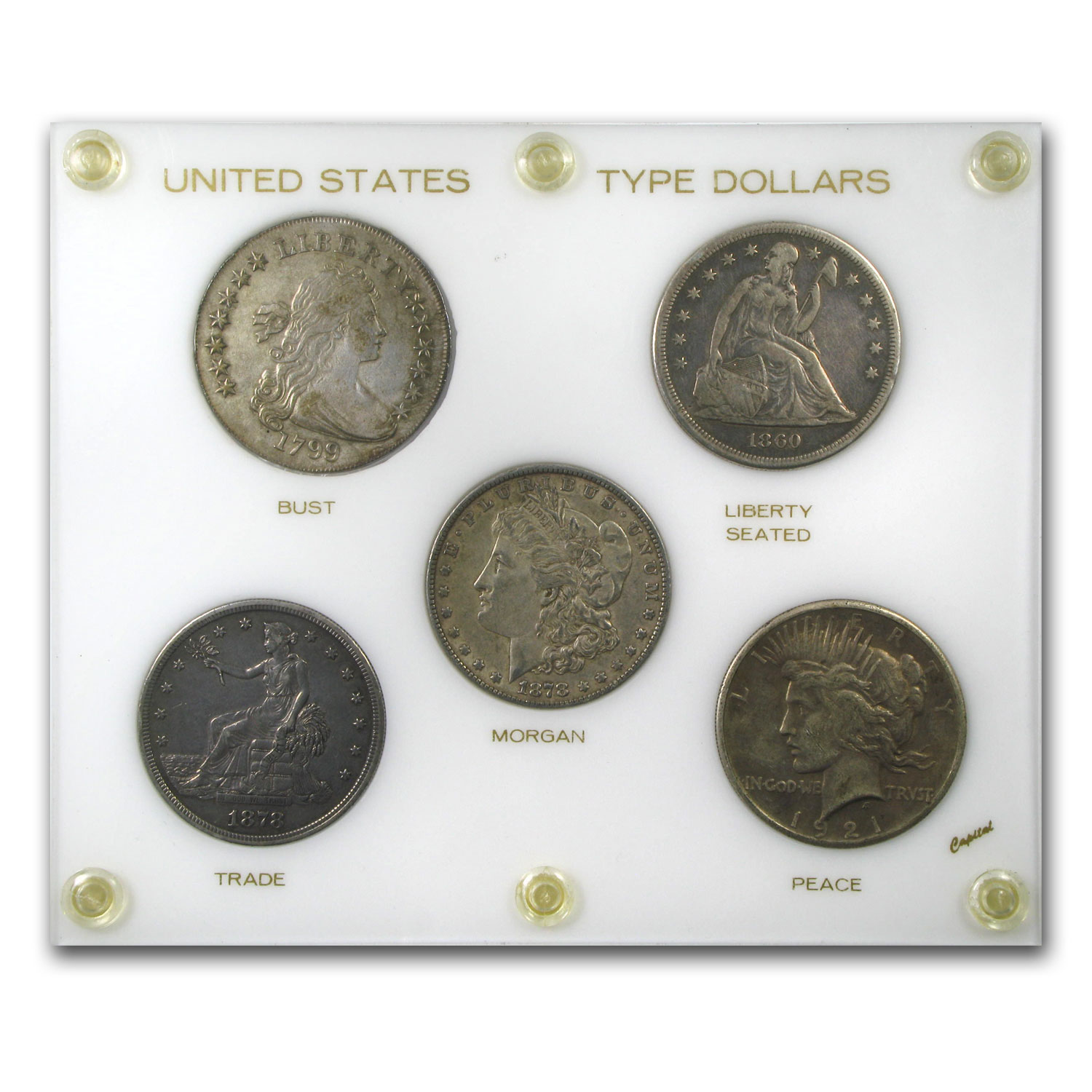 Silver Dollar Type Set - Bust, Seated, Trade, Morgan, Peace - XF