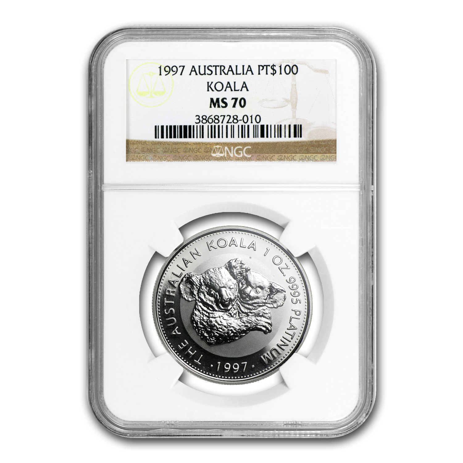 1997 1 oz Australian Platinum Koala MS-70 NGC (Registry Set)