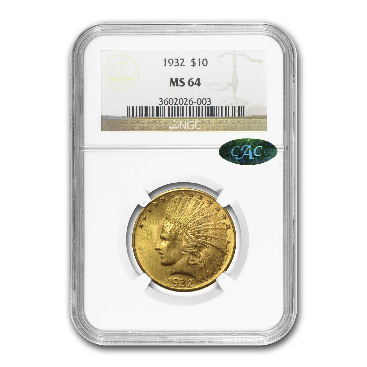 $10 Indian Gold Eagle MS-64 PCGS/NGC (CAC)