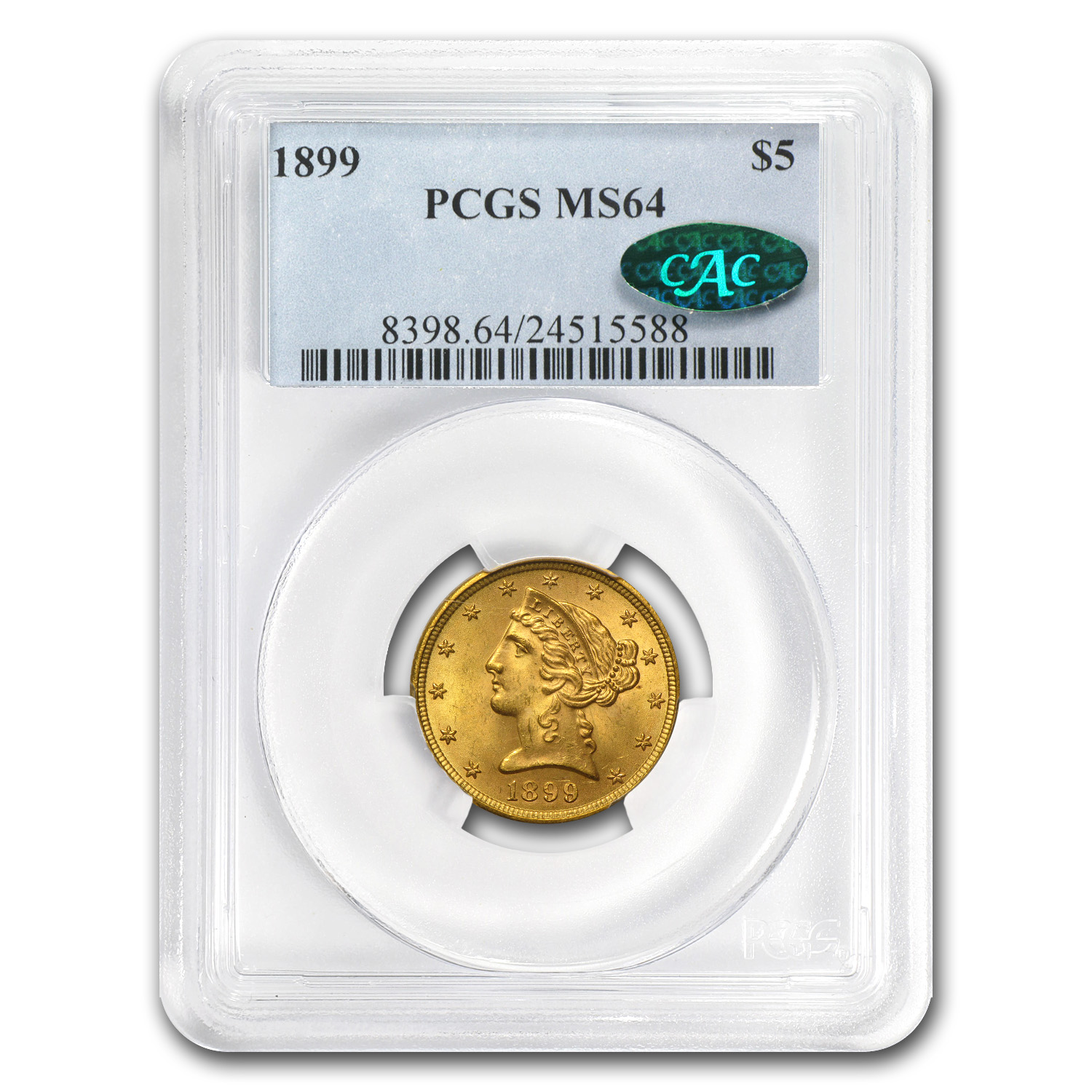 $5 Liberty Gold Half Eagle - MS-64 PCGS/NGC CAC