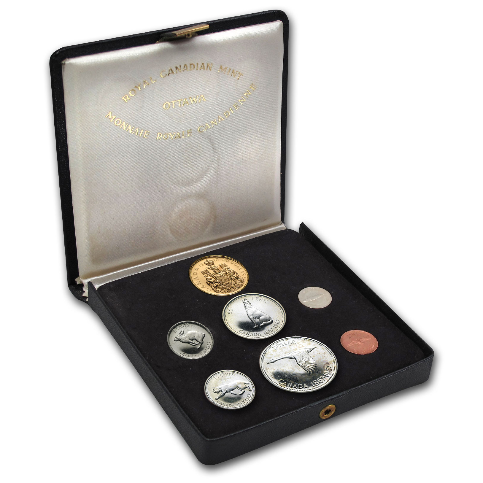 Canada 1967 Centennial 7-Coin Proof Set w/ $20 Gold (some toning)
