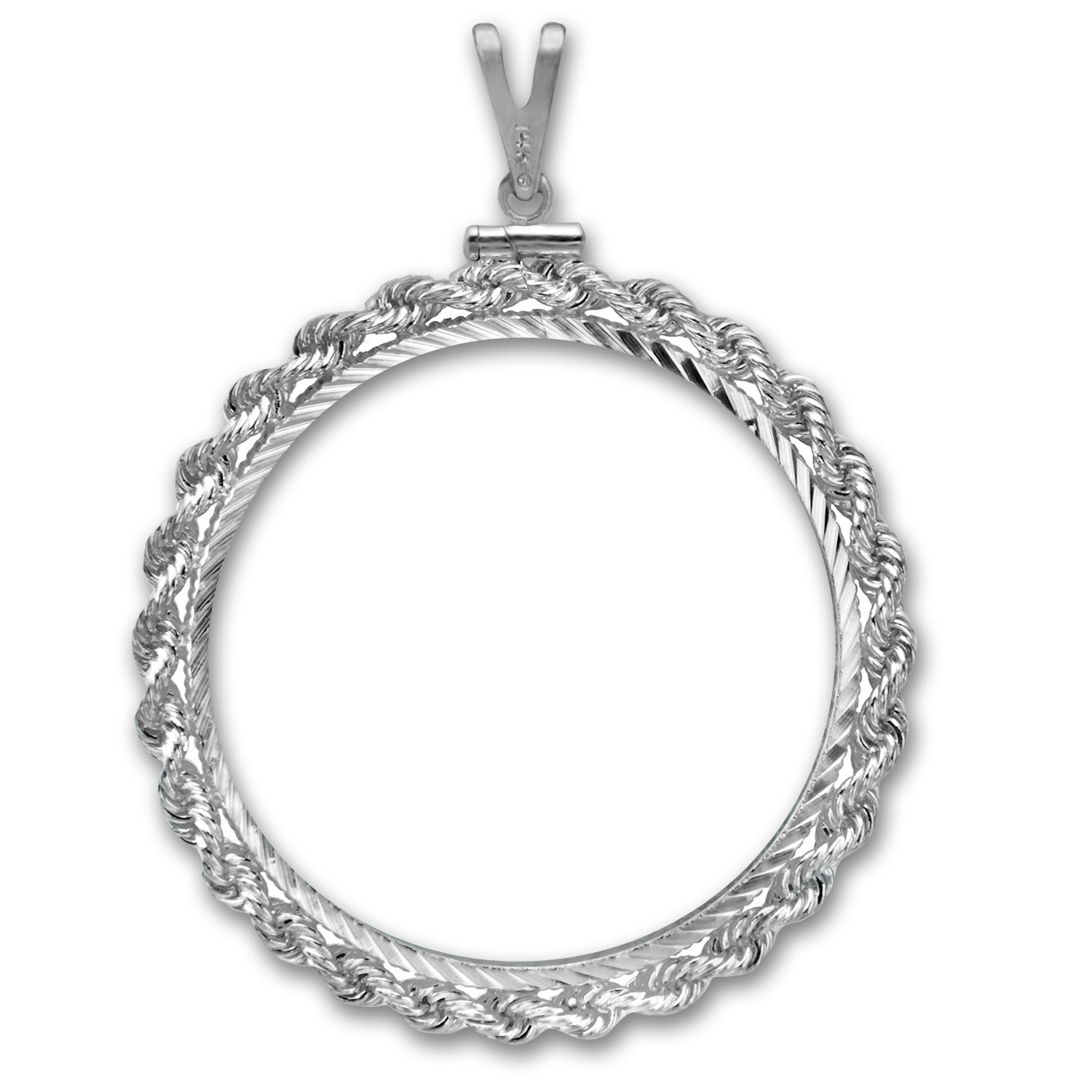 Sterling Silver Screw Top Diamond Cut Rope Coin Bezel - 40.6 mm