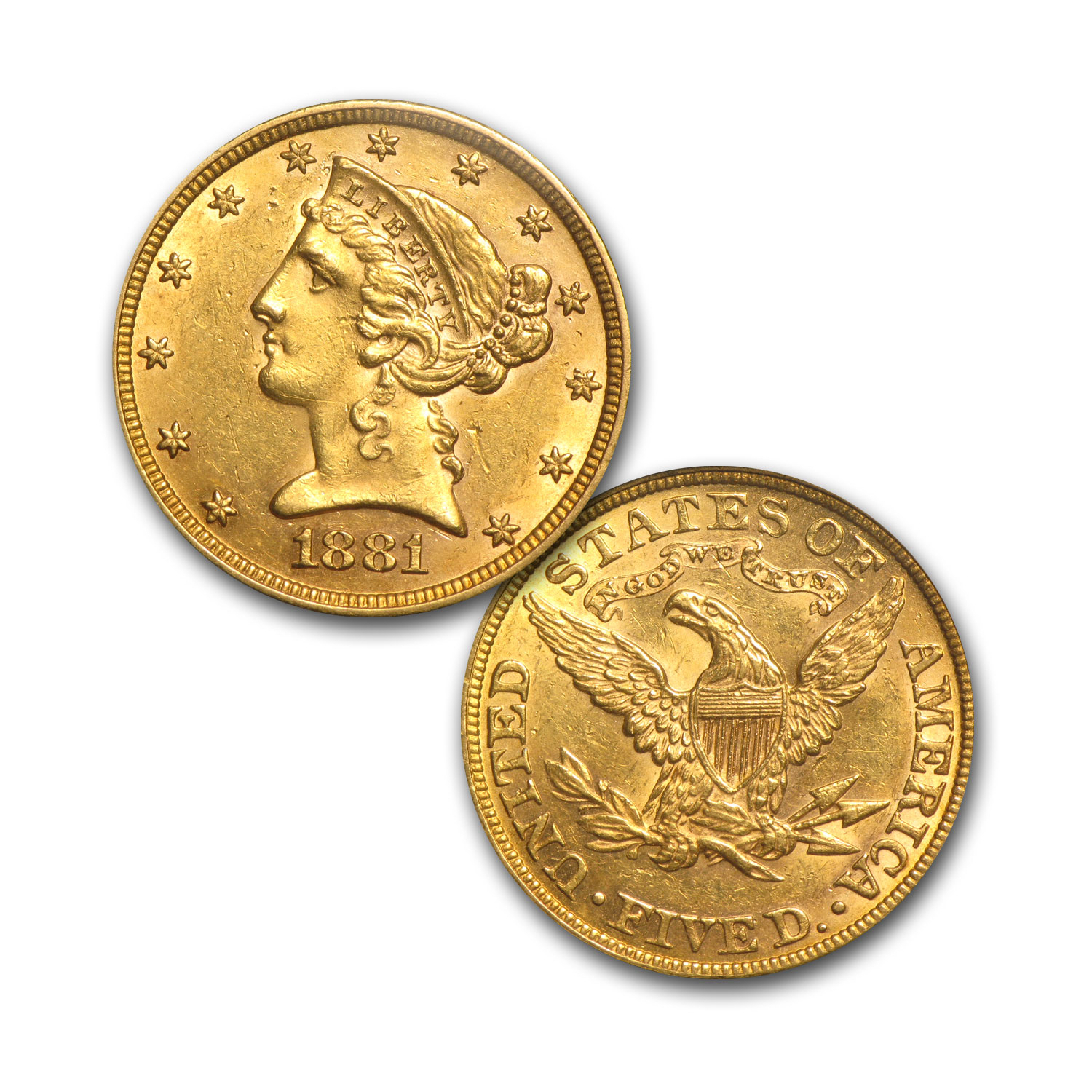 6-Coin Liberty Gold Type Set (Gold - $1, $2.50, $5, $10, $20) AU