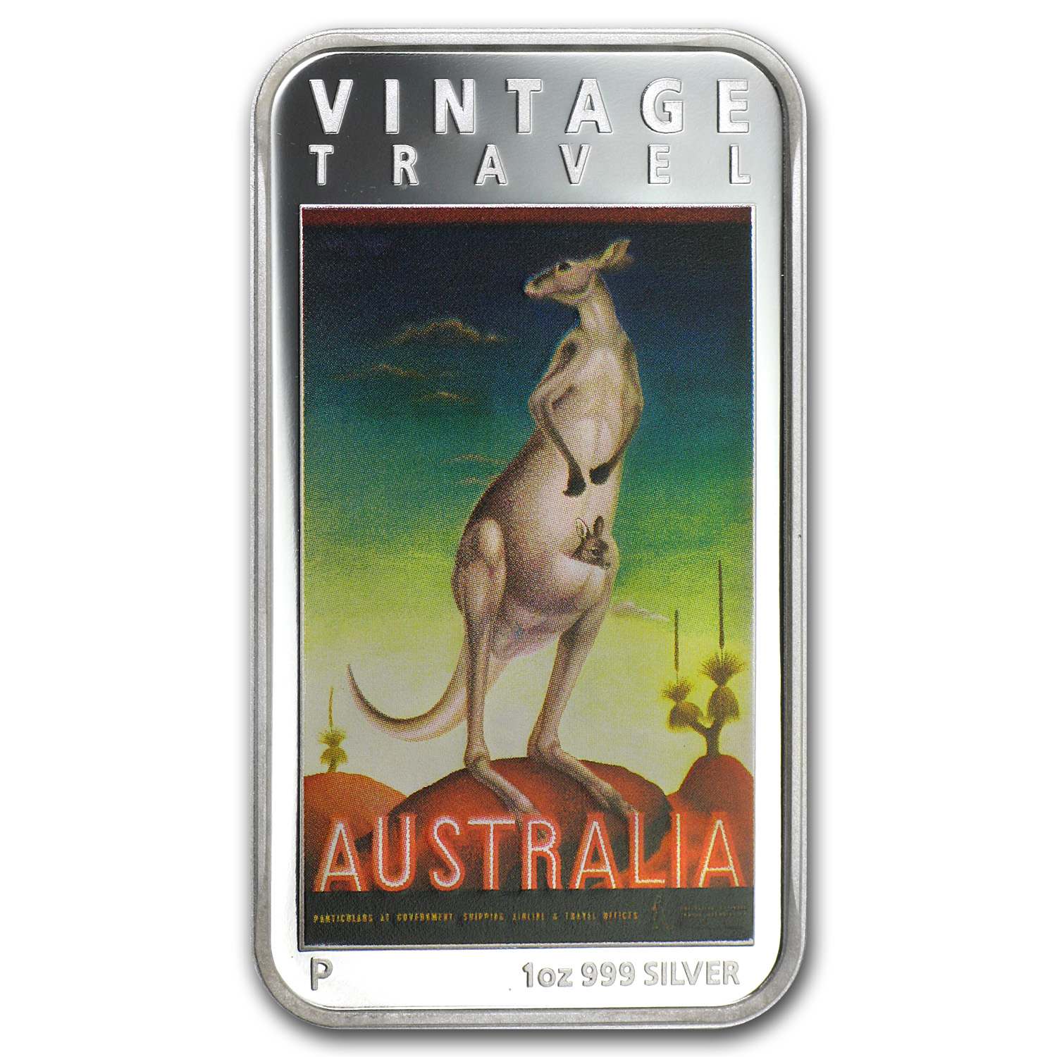 2014 1 oz Silver Proof Australia Vintage Travel Poster - Kangaroo