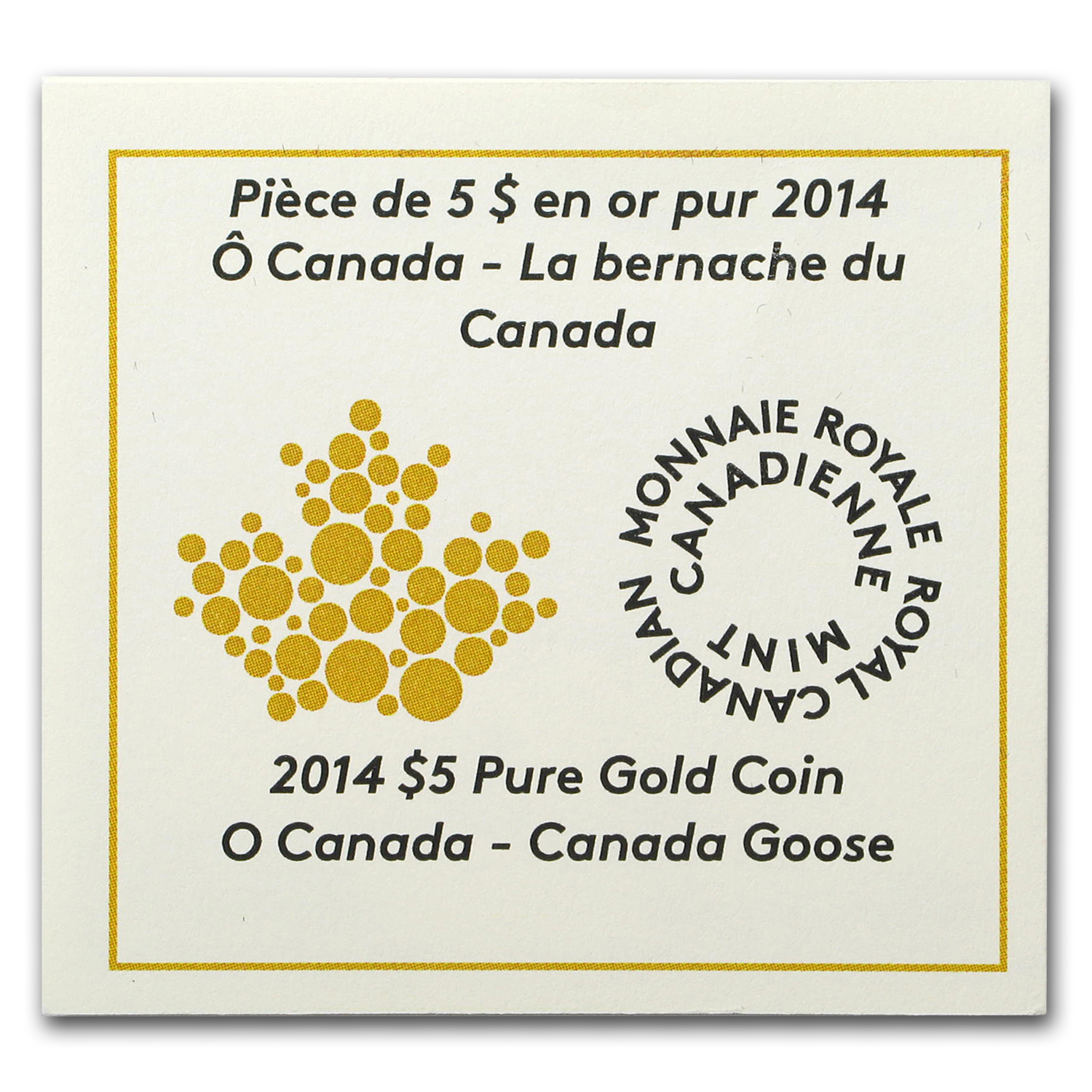 2014 Canada 1/10 oz Proof Gold $5 Canada Goose (w/out Box)