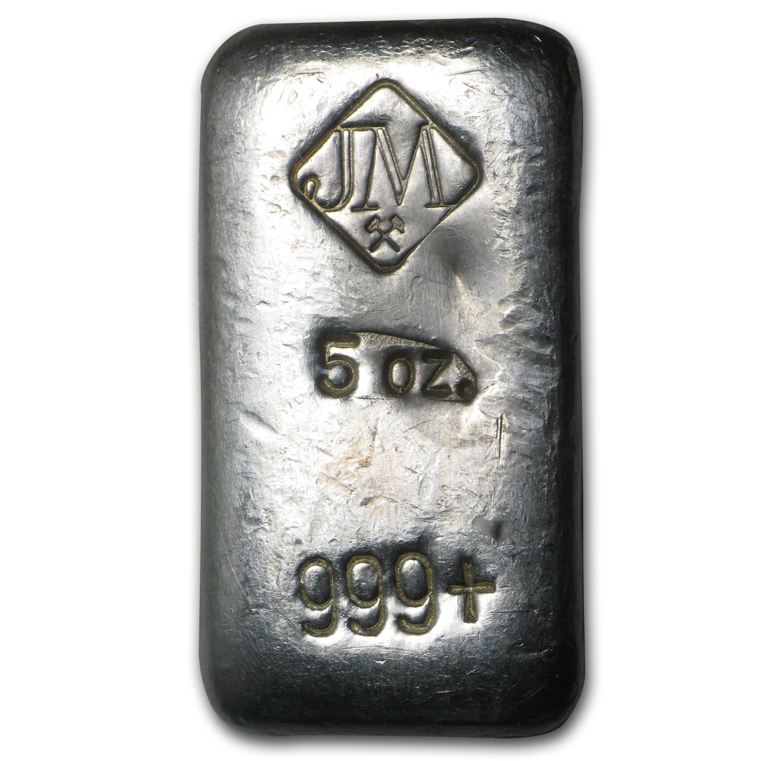 5 oz Silver Bar - Johnson Matthey (Poured/Pudgy)