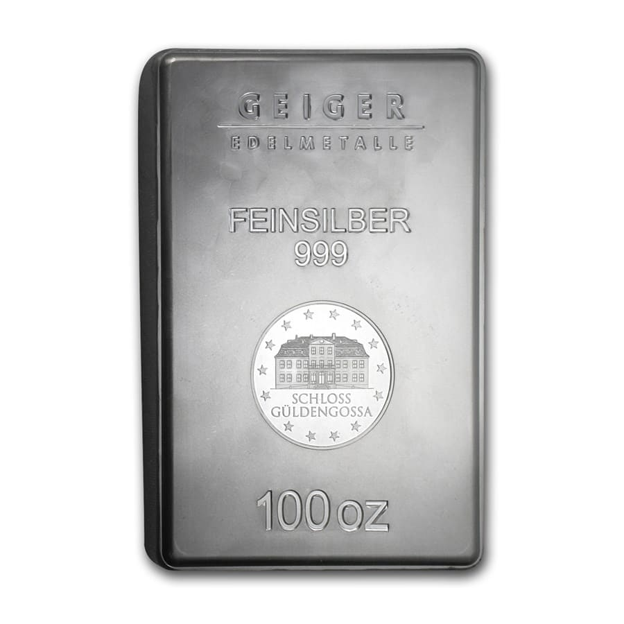 100 oz Silver Bar - Geiger (New Design, Security Line Series)