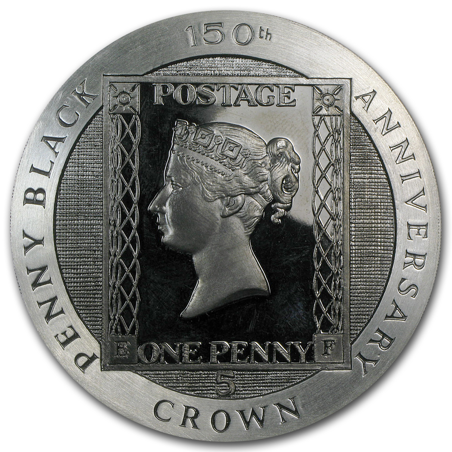 1990 Isle of Man Silver 5 Crown Penny Black