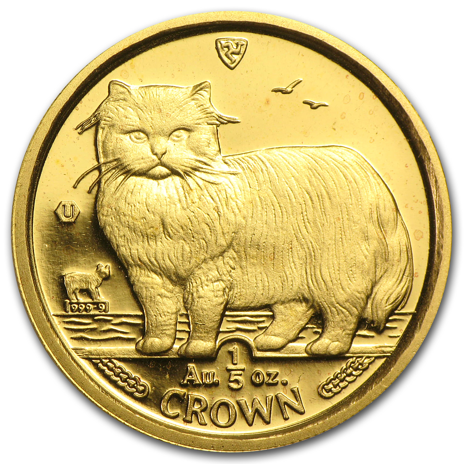 Isle of Man 1989 1/5 Crown Gold Persian Cat
