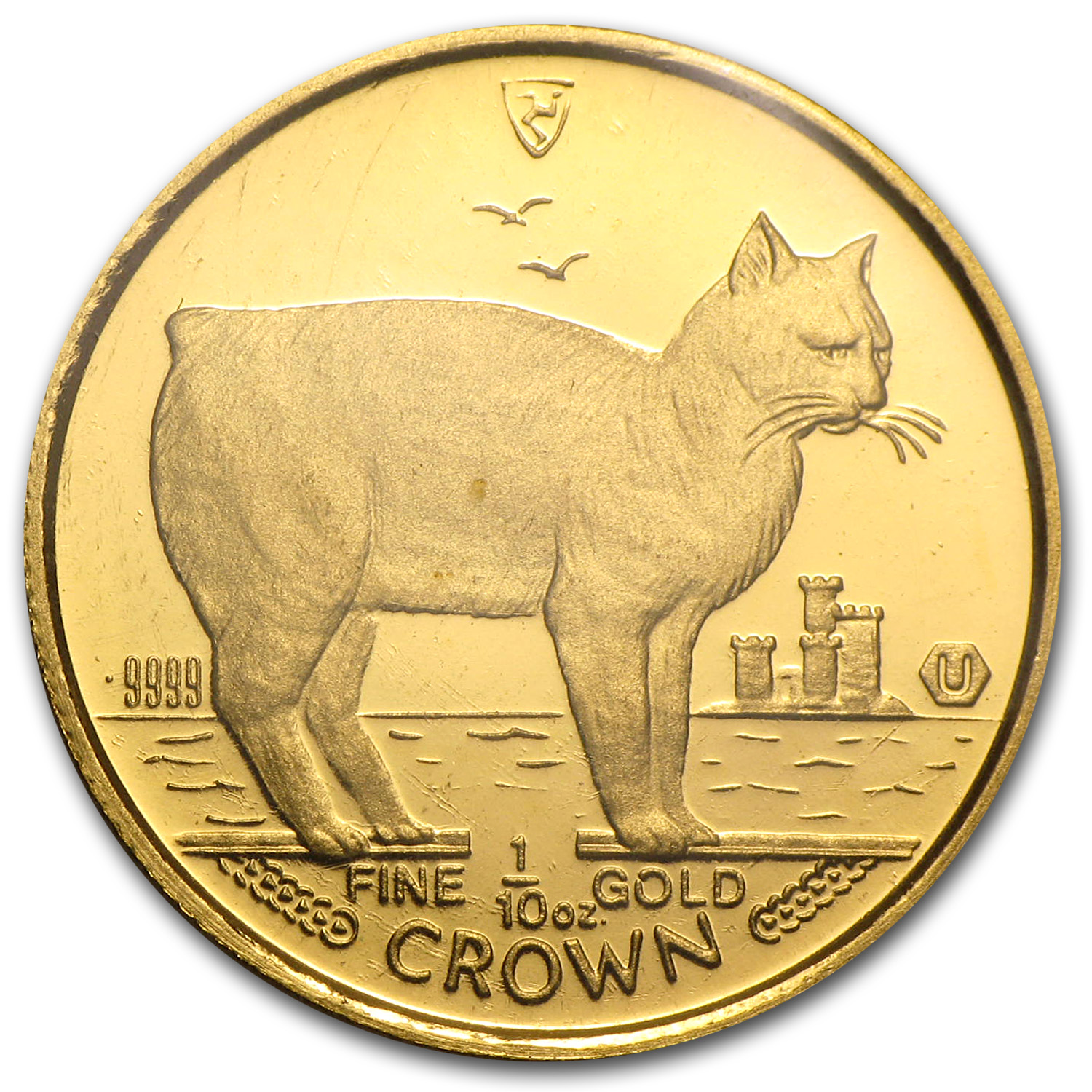 1988 Isle of Man 1/10 oz Gold Manx Cat