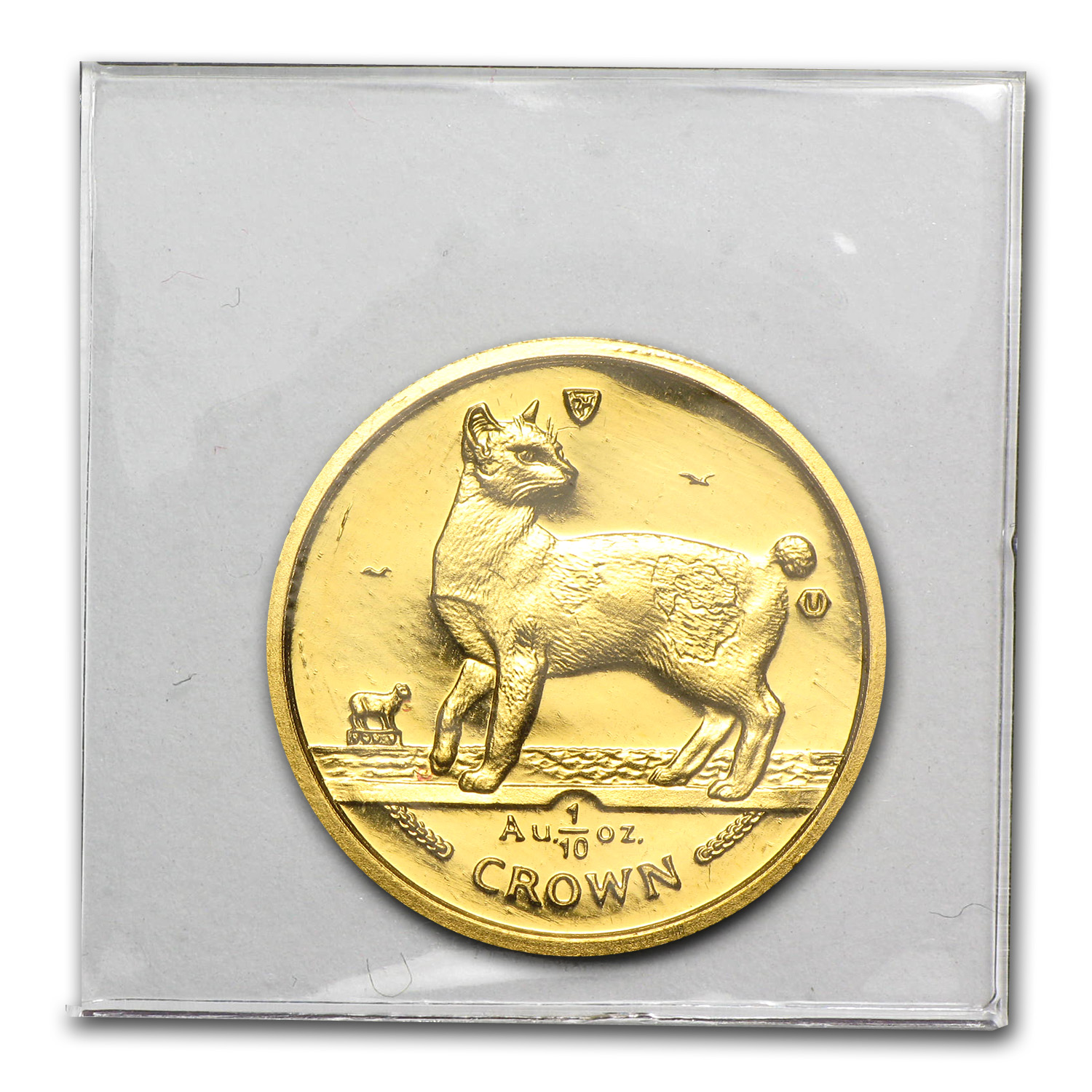 1994 Isle of Man 1/10 oz Gold Japanese Bobtail Cat BU