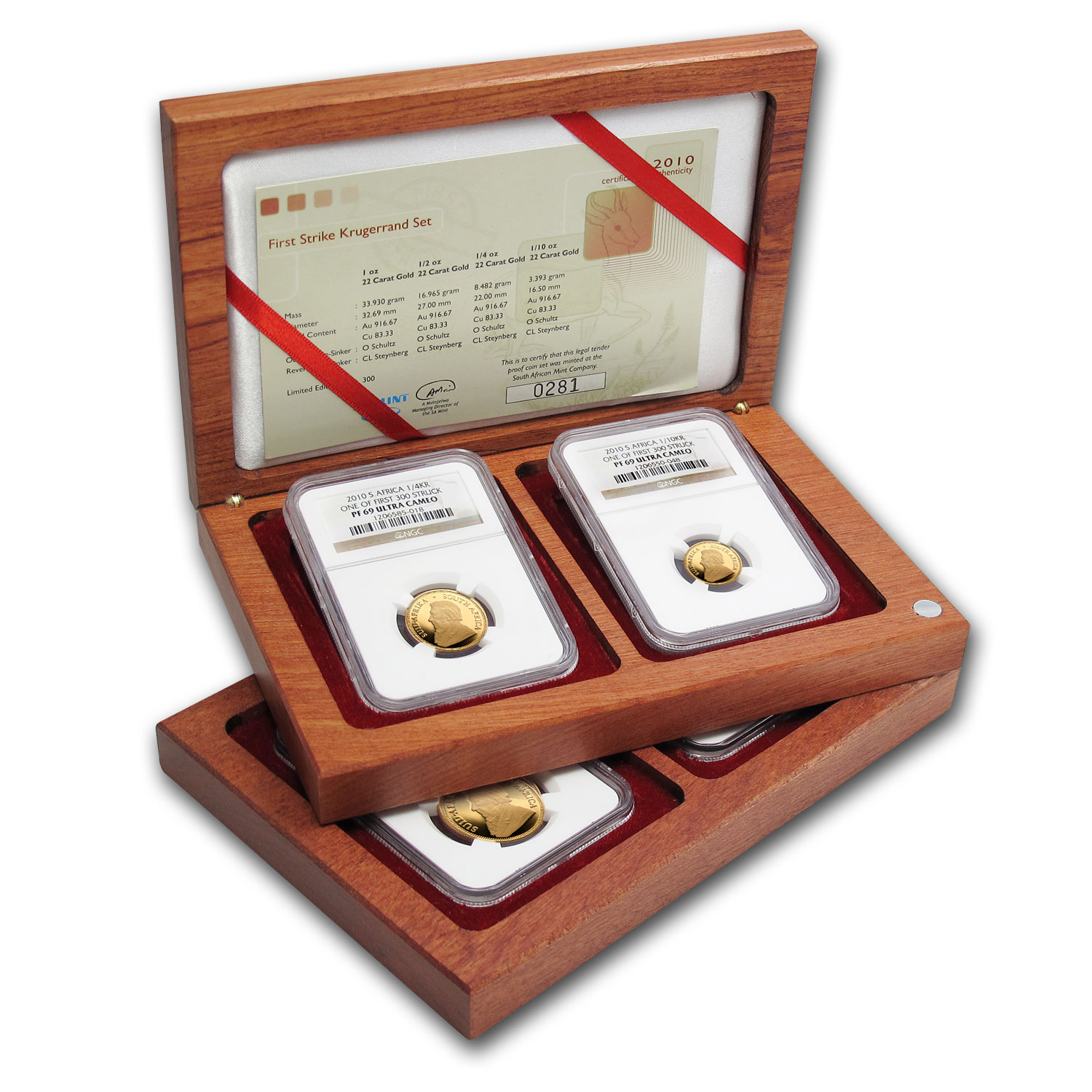 2010 South Africa 4-Coin Gold Krugerrand Proof Set PF-69 NGC