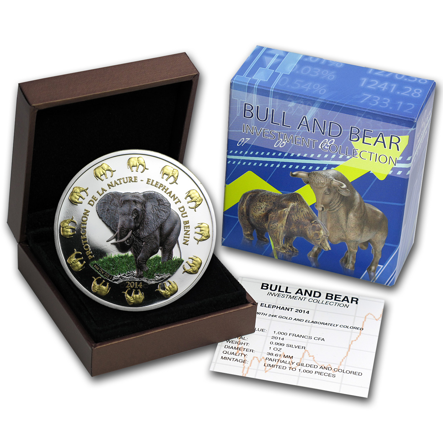 2014 Benin 1 oz Silver Protection de la Nature Elephant (Colored)