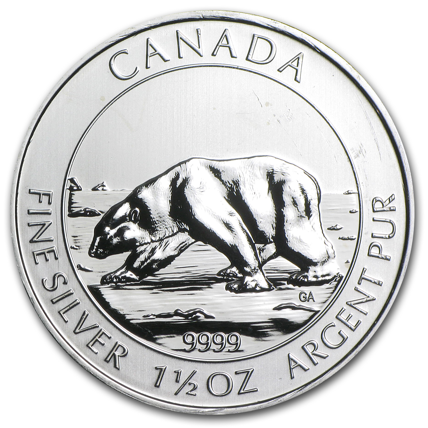 2013 1.5 oz Silver Canadian $8 Polar Bear - Obv Struck-Thru