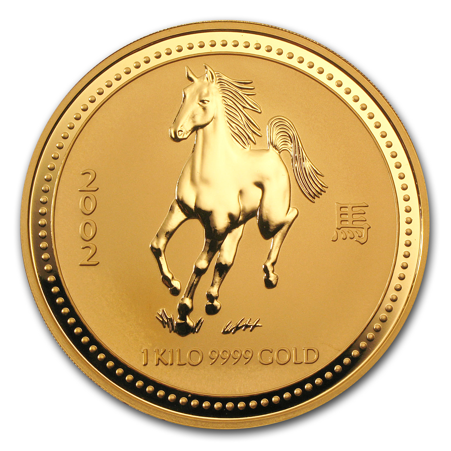 2002 1 kilo (32.15 oz) Gold Year of the Horse Lunar (Series I)