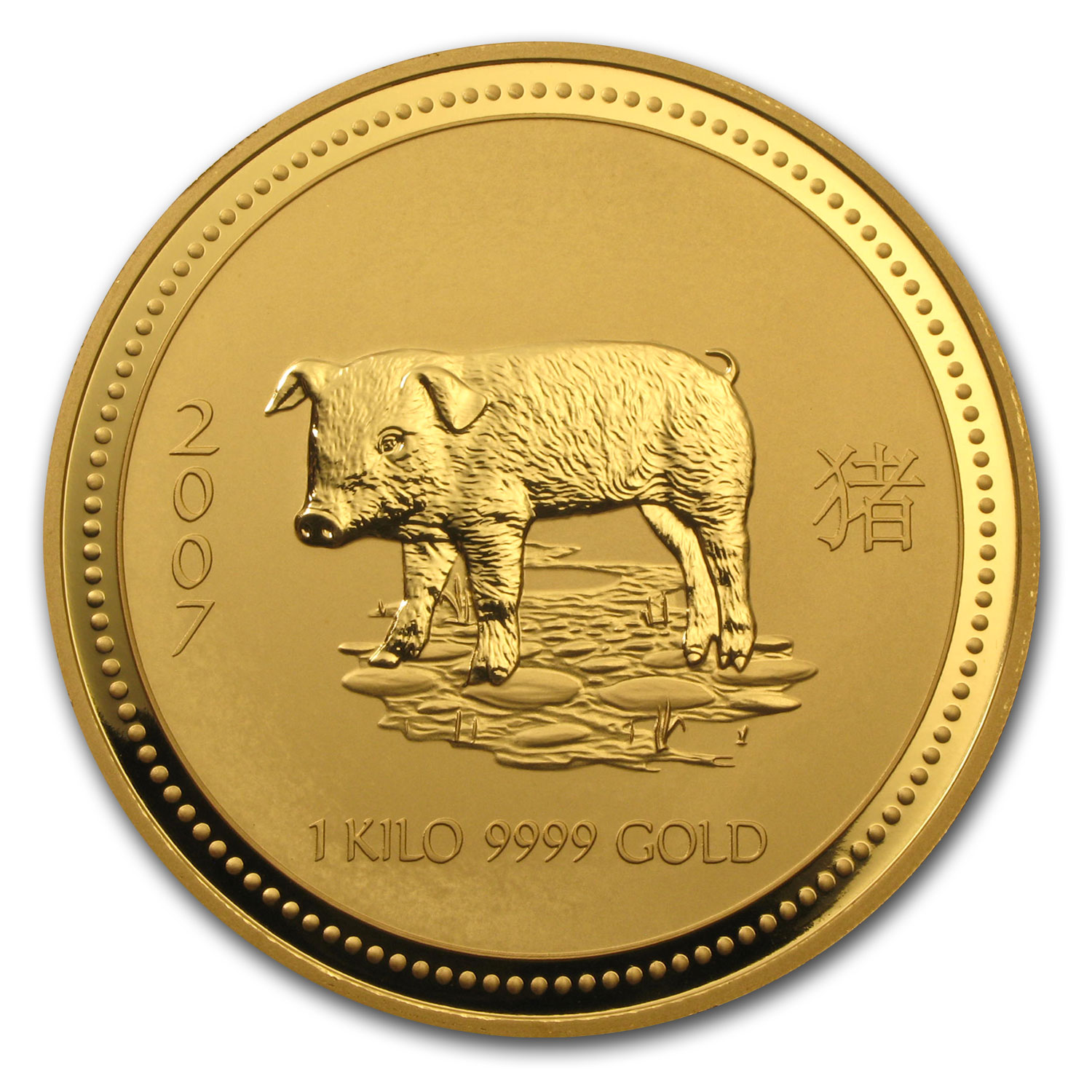 2007 1 kilo Gold Lunar Year of the Pig BU (Series I)
