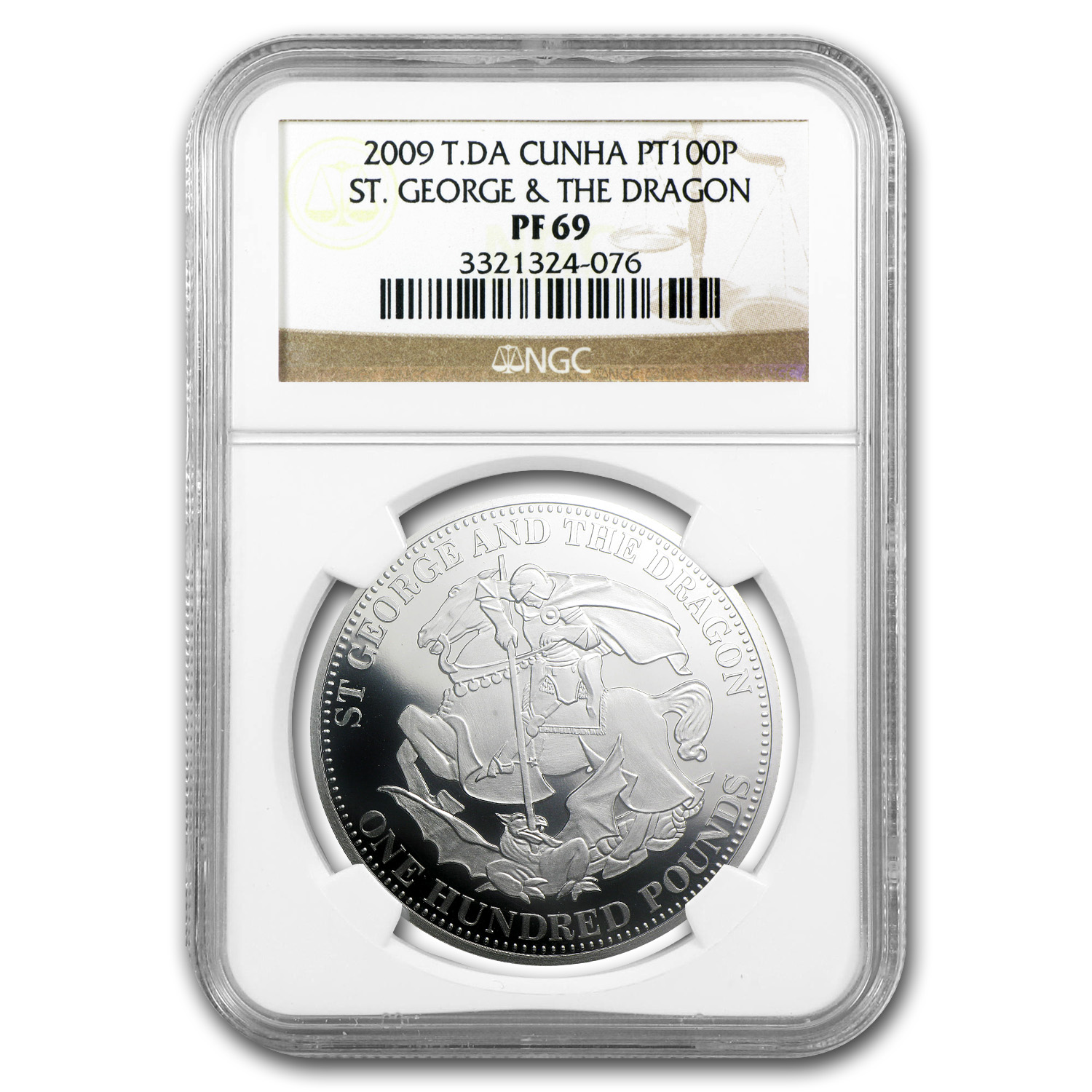 2009 T.DA Cunha 1 oz Platinum St. George & The Dragon PF-69 NGC