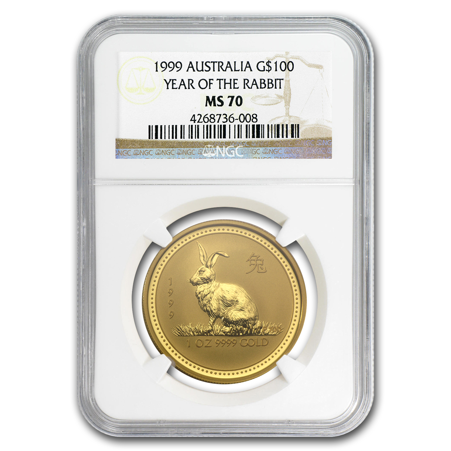 1999 1 oz Gold Lunar Year of the Rabbit MS-69 NGC (Series I)