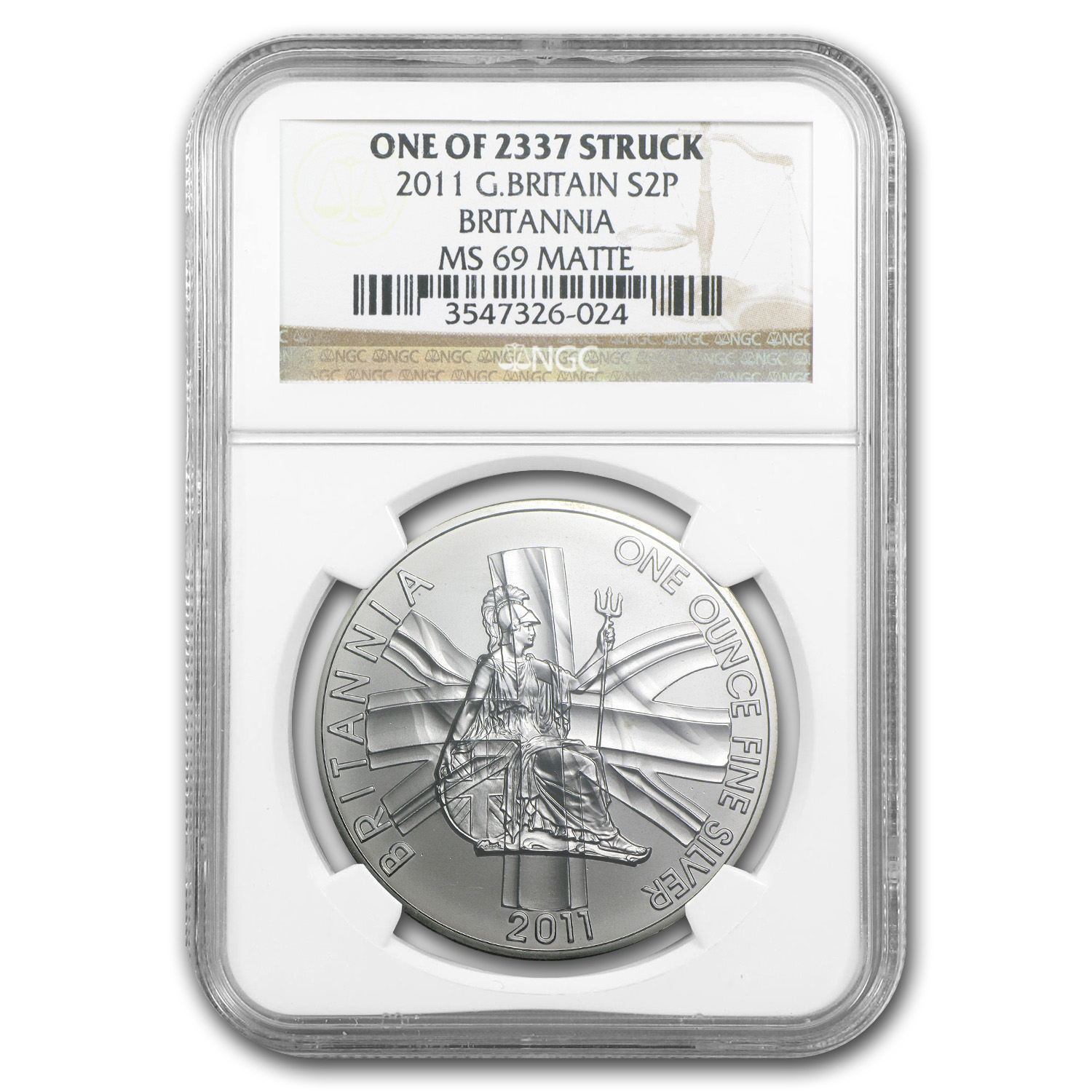 2011 1 oz Silver Britannia MS-69 Matte NGC (One of 2,337 struck)