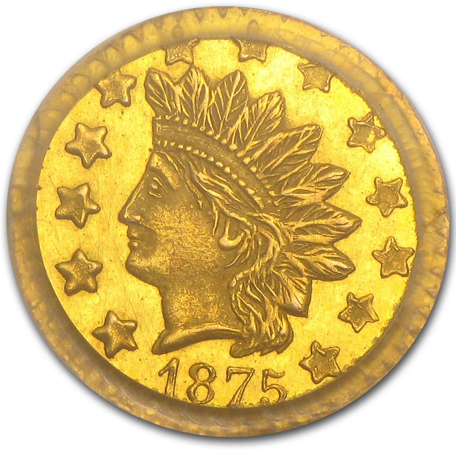 1875 BG-1056 Indian Round 50 Cent Gold MS-63 PCGS