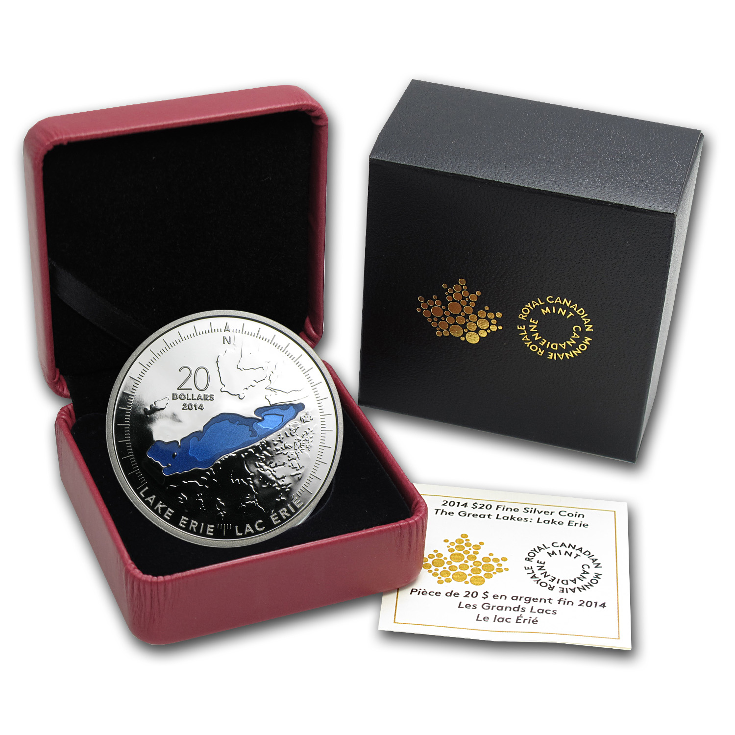 2014 1 oz Silver Canadian $20 The Great Lakes - Lake Erie