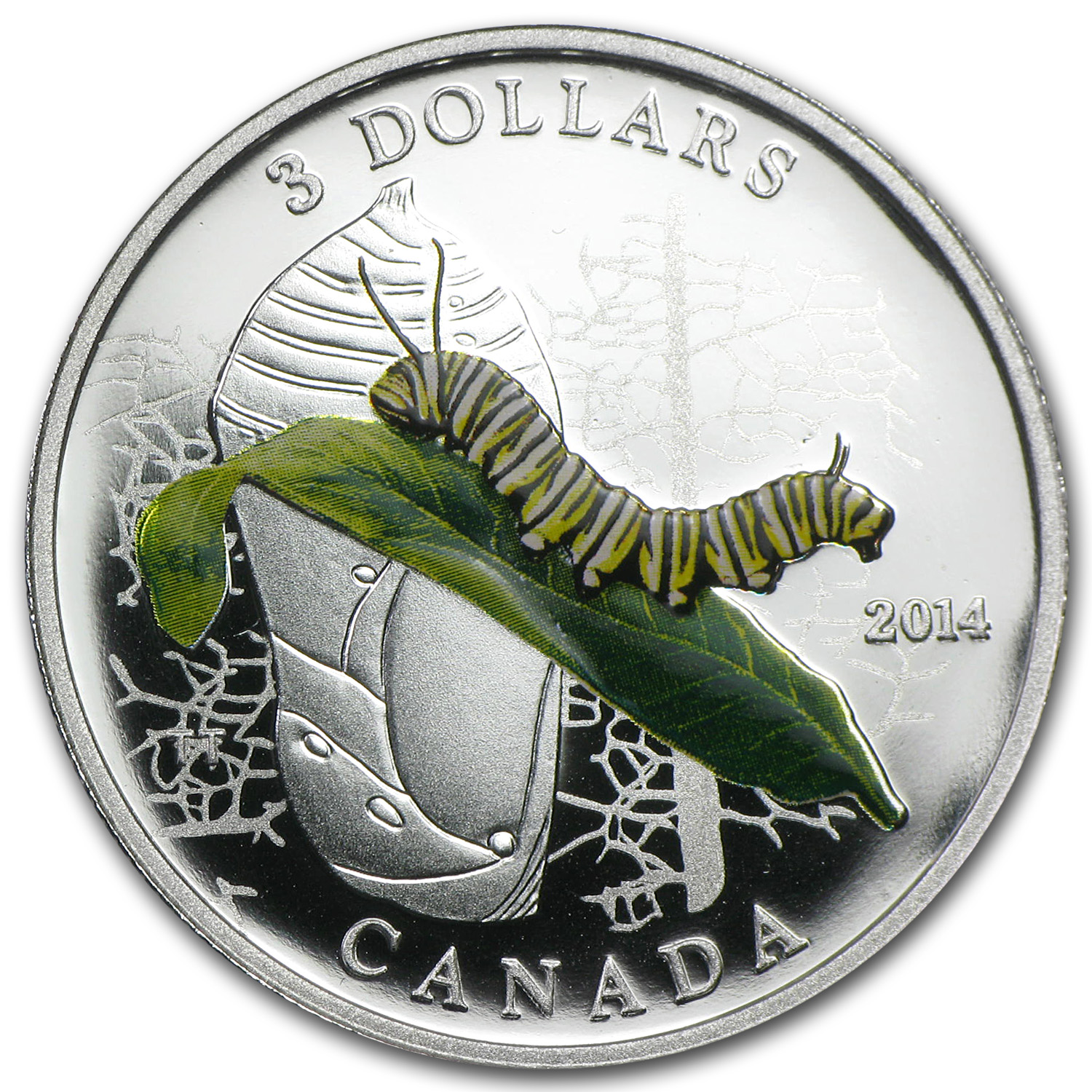 2014 1/4 oz Silver Can. Animal Architects Caterpillar & Chrysalis