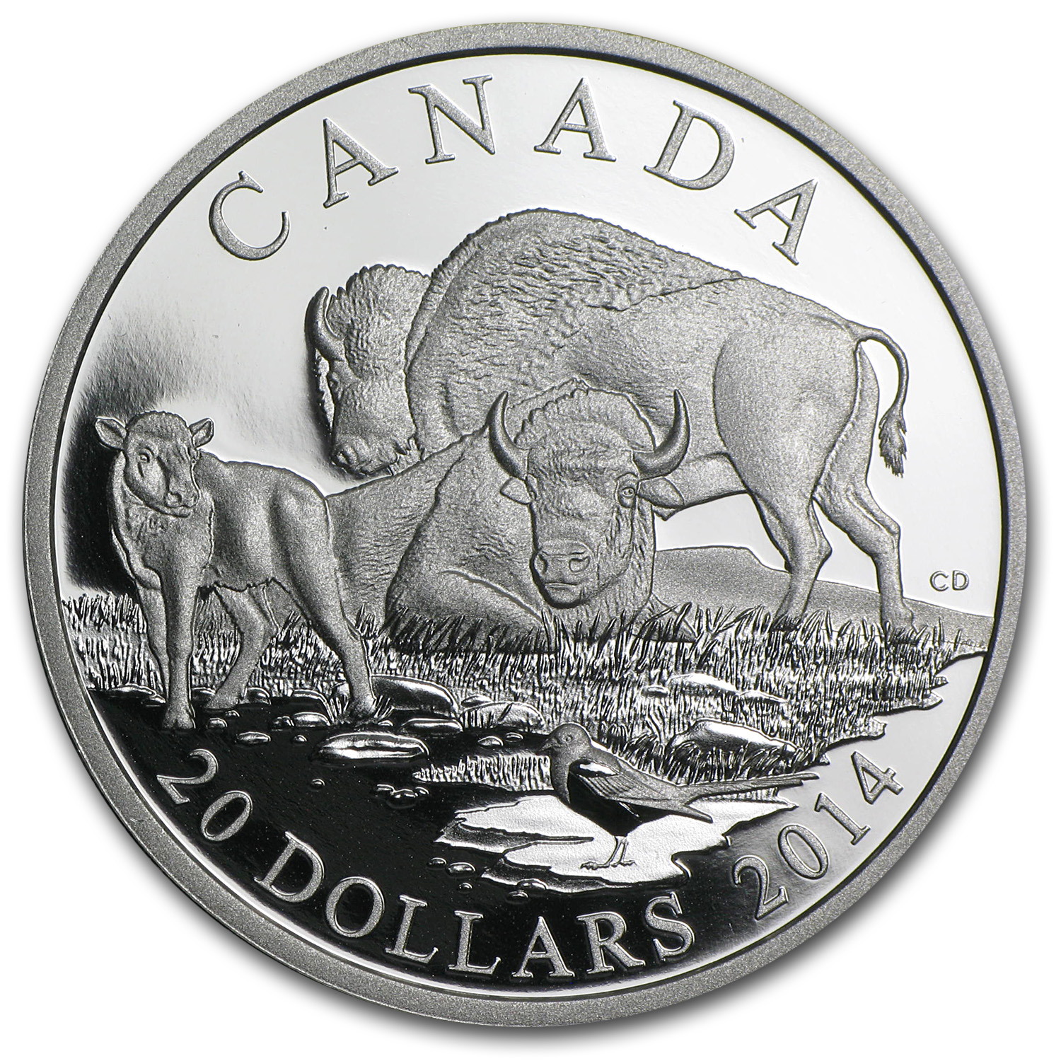 2014 Canadian 1 oz Proof Silver Bison - A Family at Rest