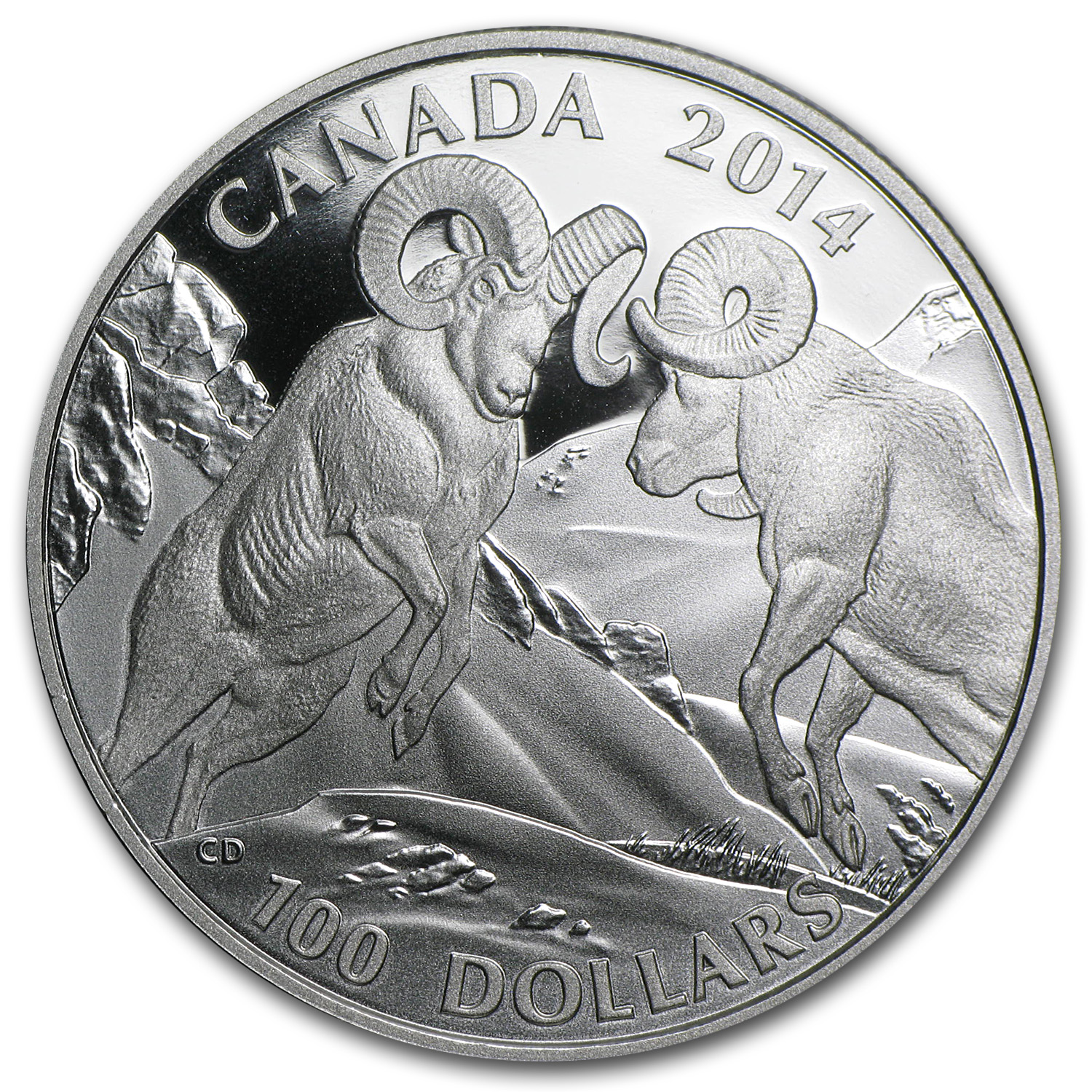 2014 1 oz Silver Canadian $100 - Rocky Mountain Bighorn Sheep