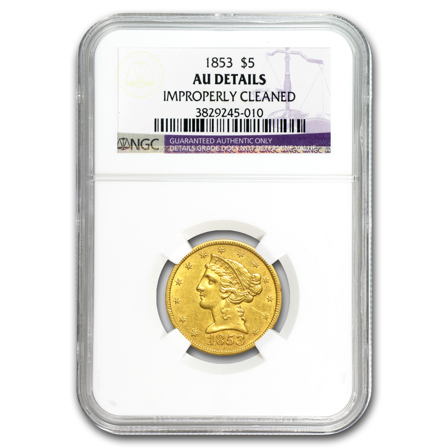 1853 $5 Liberty Gold Half Eagle - AU Details NGC