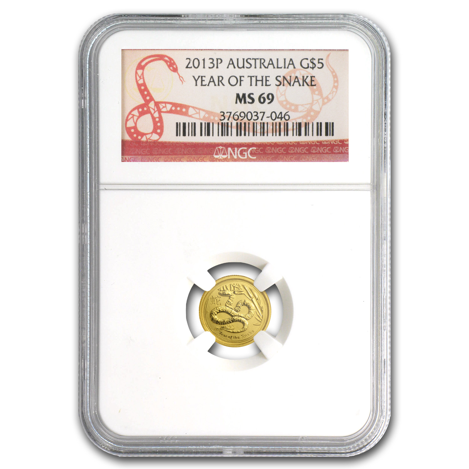 2013 1/20 oz Gold Lunar Year of the Snake (SII) MS-69 NGC