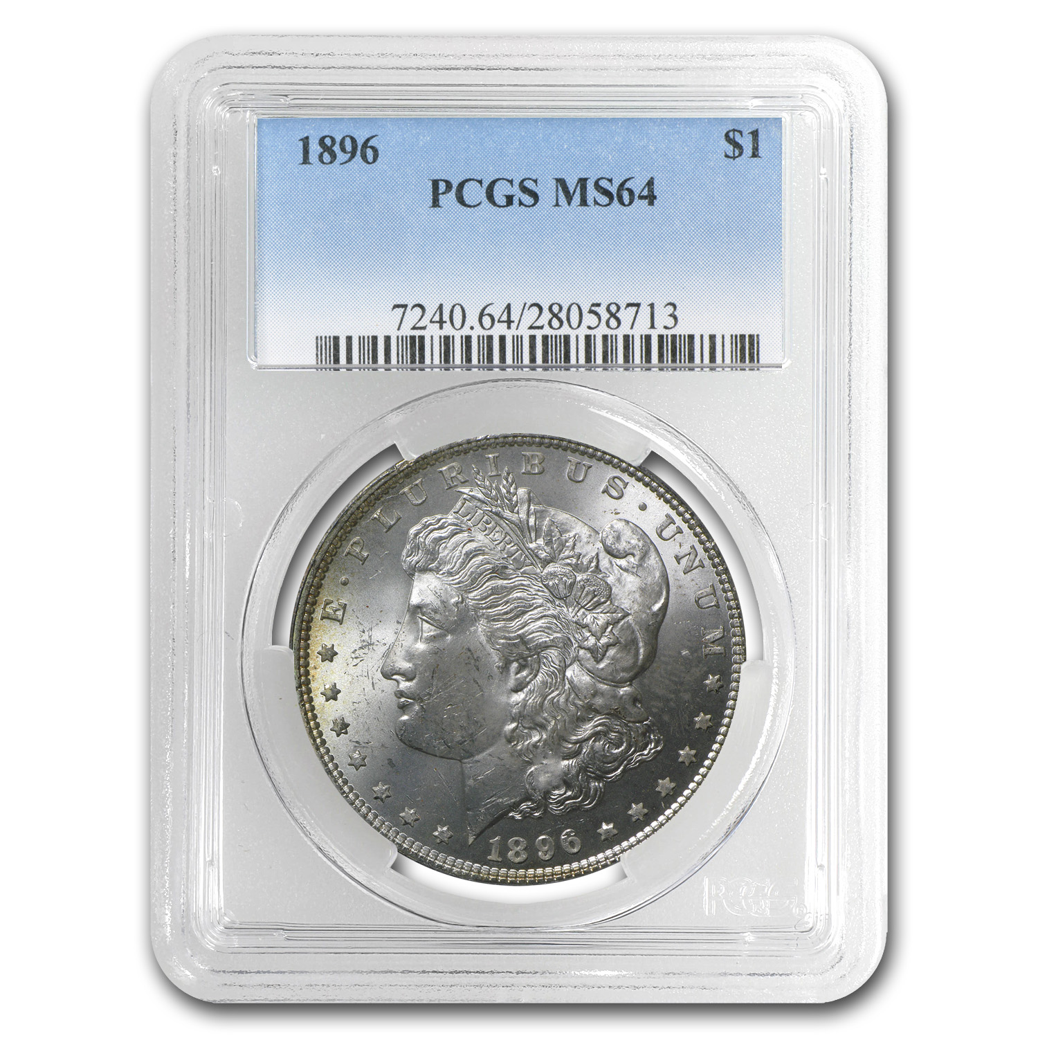 1896 Morgan Dollar MS-64 PCGS - Raspberry Toning