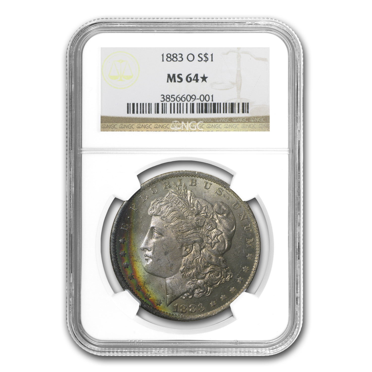 1883-O Morgan Dollar MS-64* Star NGC (Crescent Toning)