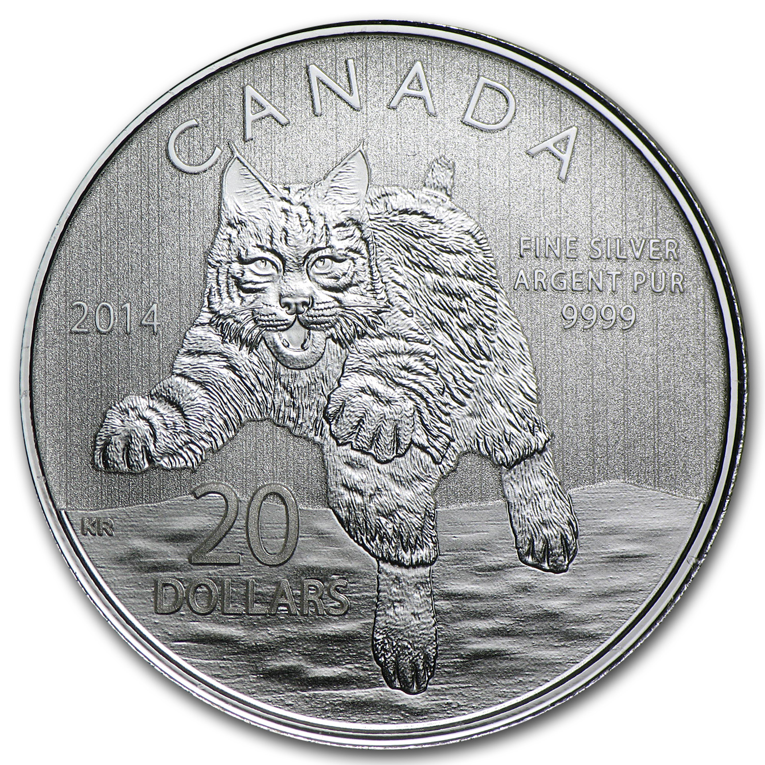 2014 1/4 oz Silver Canadian $20 Bobcat (No Box or COA)