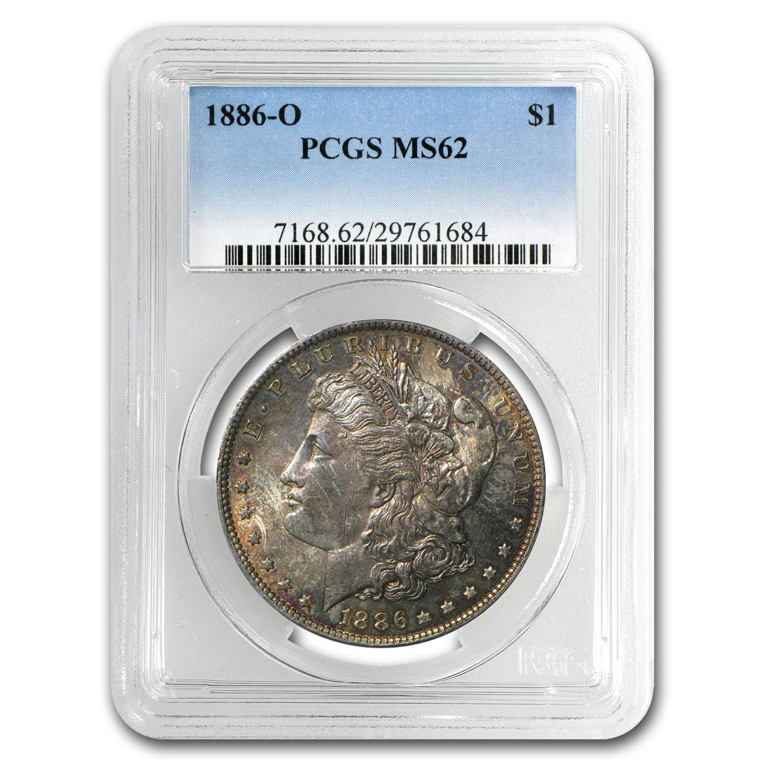 1886-O Morgan Dollar MS-62 PCGS - Pink Obverse Toning