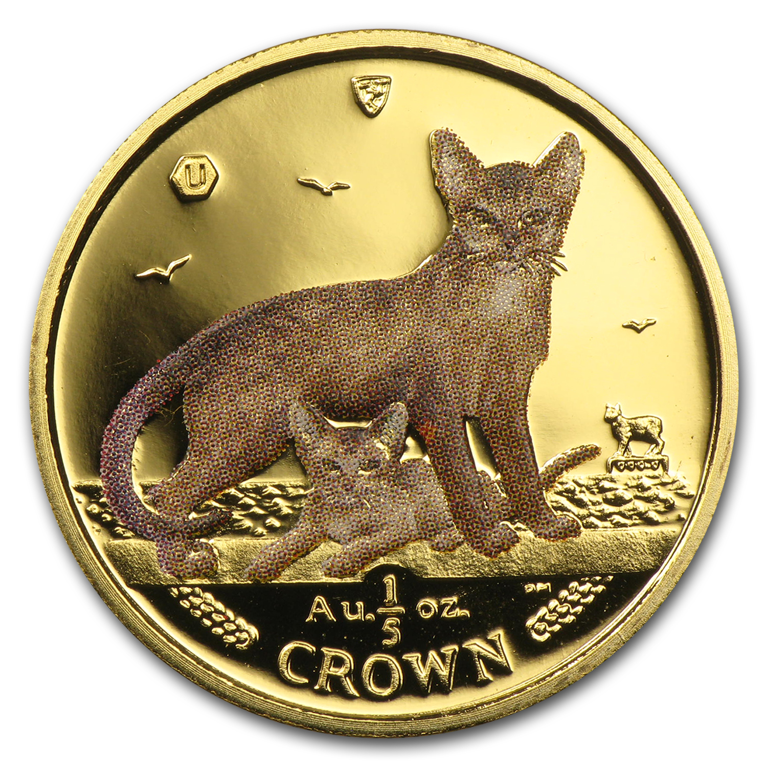 2010 Isle of Man 1/5 Crown Gold Abyssinian Cats BU