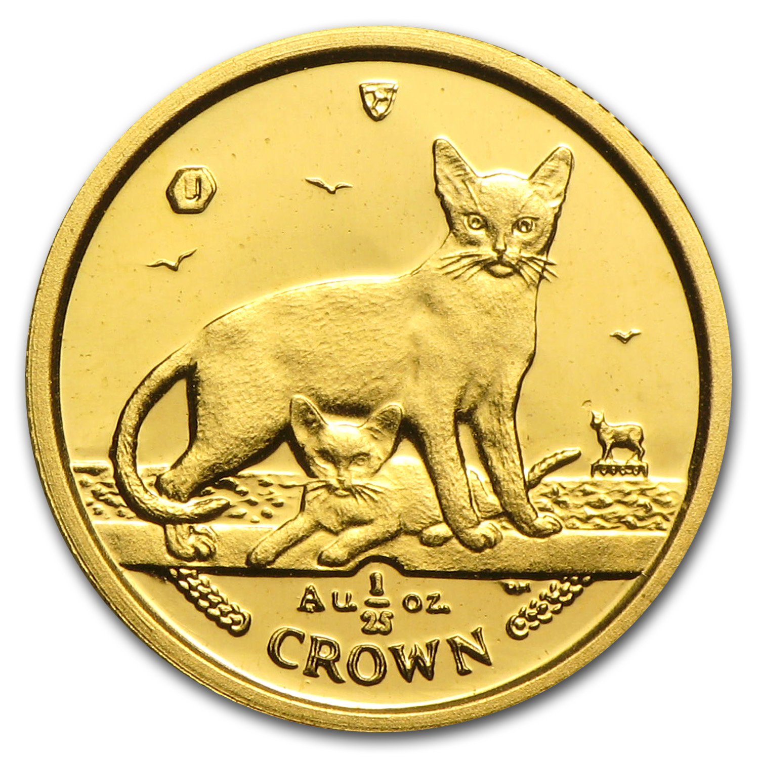 2010 Isle of Man 1/25 Crown Gold Abyssinian Cats BU