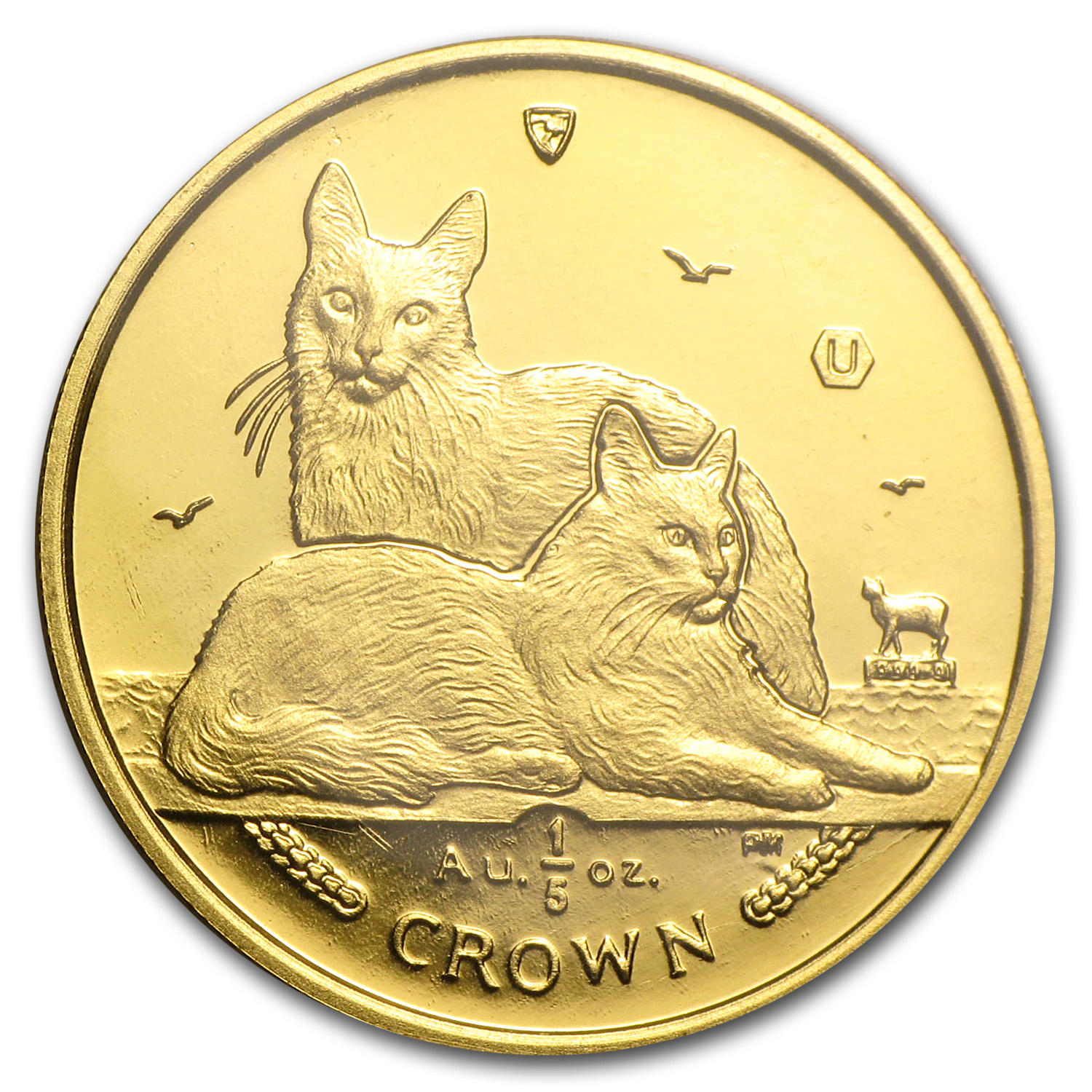 2011 Isle of Man 1/5 Crown Gold Angora Cats BU