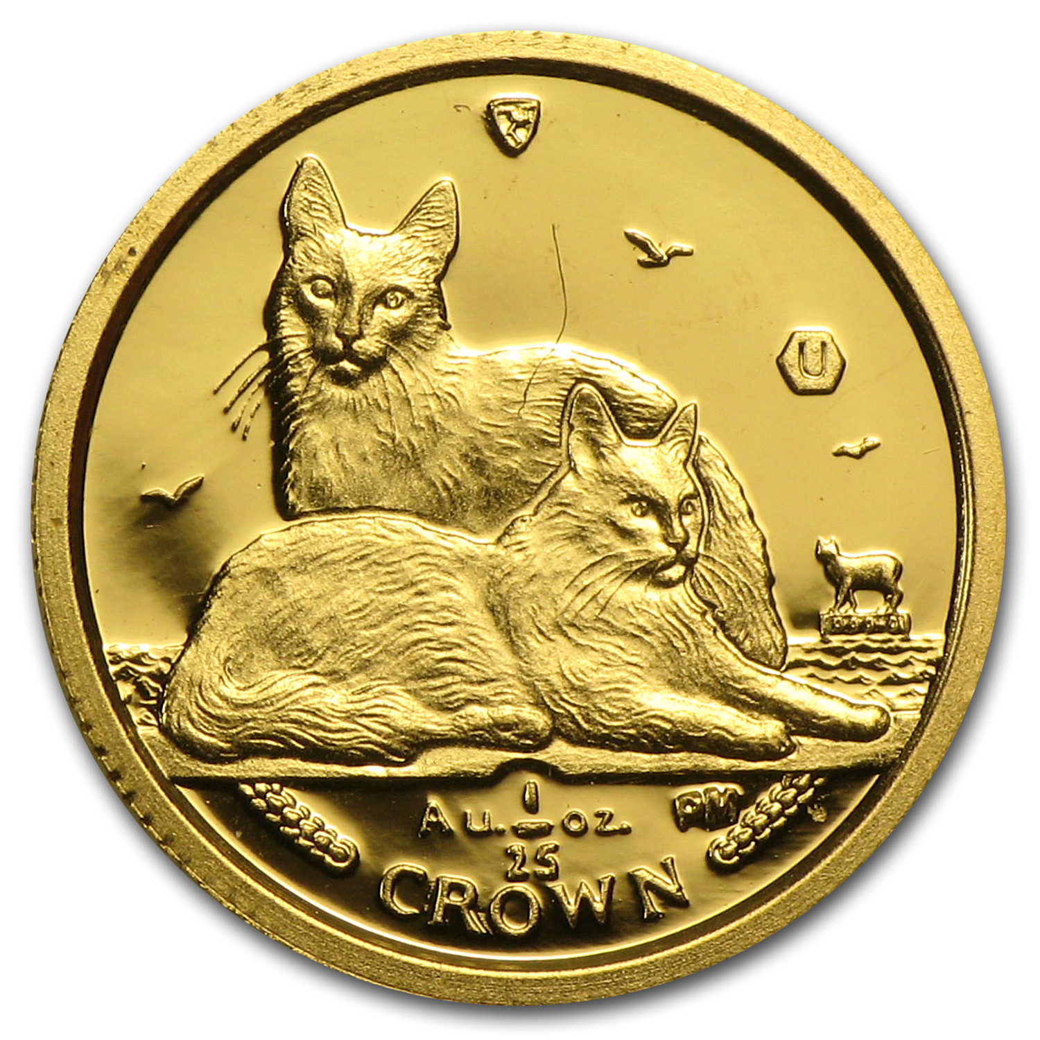 2011 Isle of Man 1/25 Crown Gold Angora Cats BU