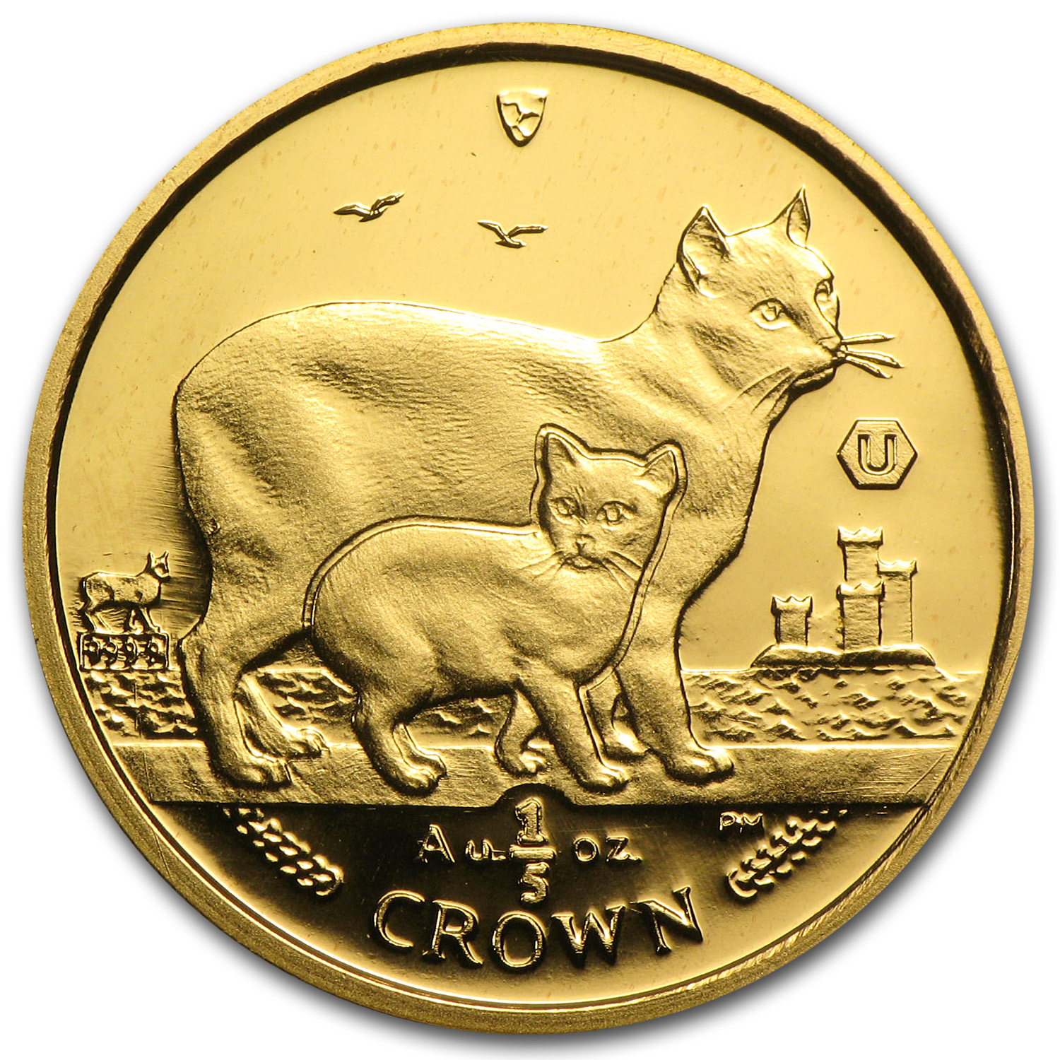 2012 Isle of Man 1/5 Crown Gold Manx Cat BU