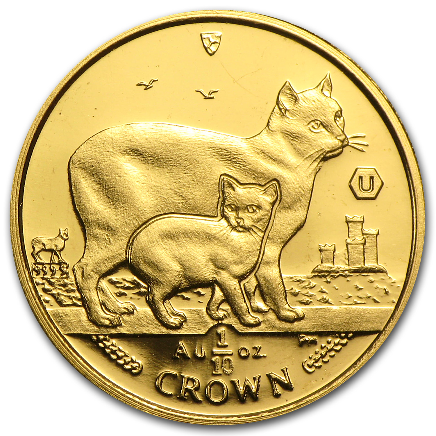 Isle of Man 2012 1/10 Crown Gold BU Manx Cat