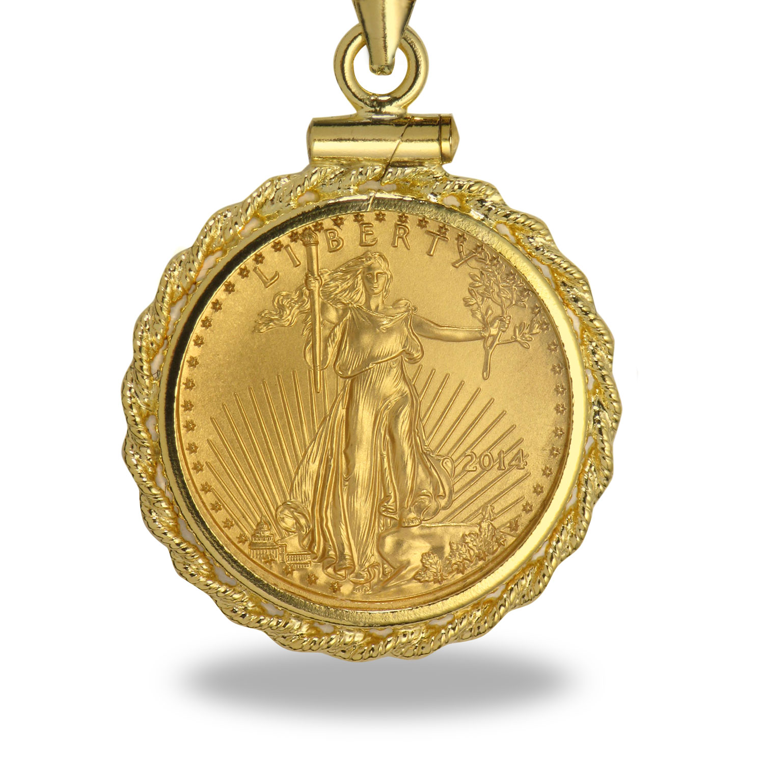 2014 1/10 oz Gold Eagle Rope Pendant & Necklace