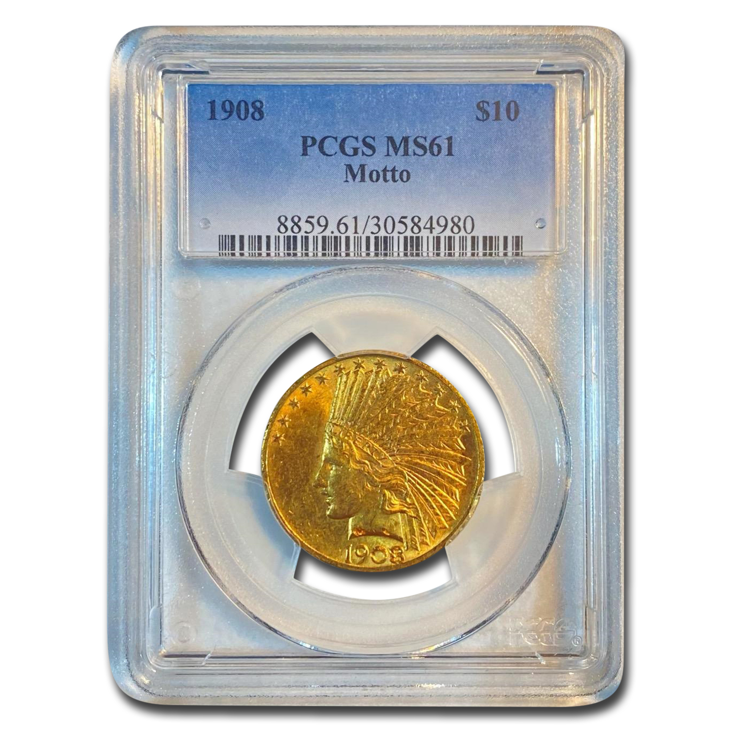 1908 $10 Indian Gold Eagle - With Motto - MS-61 PCGS
