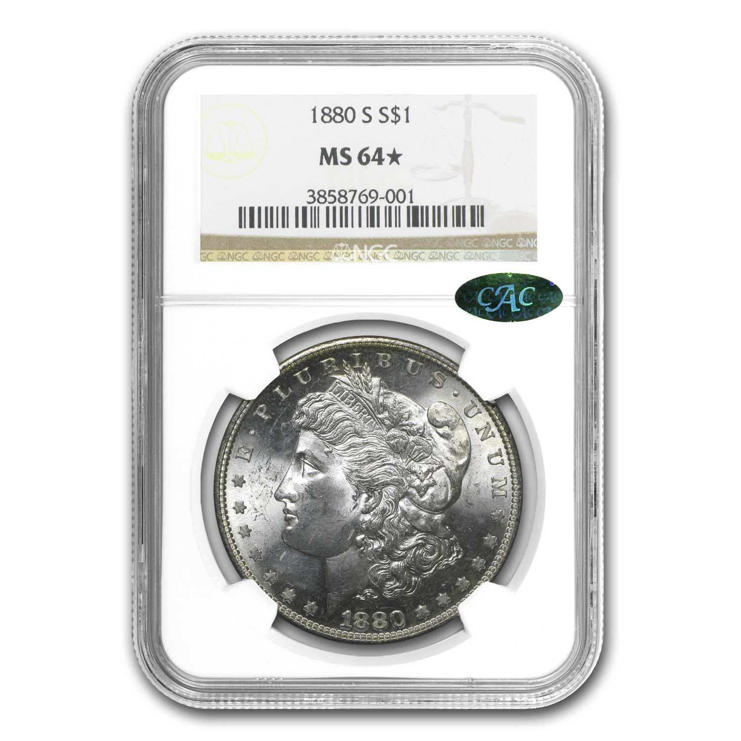 1880-S Morgan Dollar - MS-64* NGC Star - CAC - Rainbow Toned