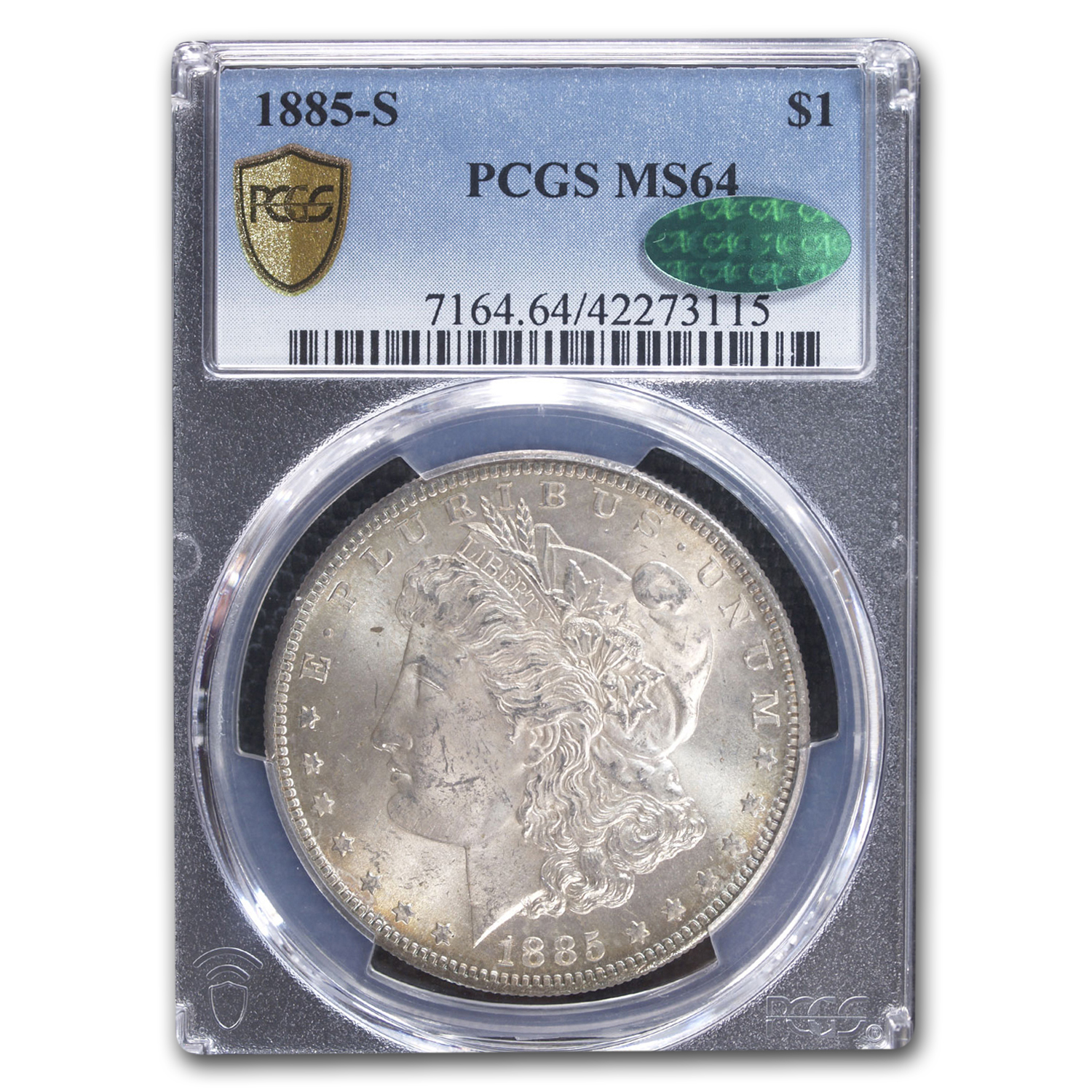 1885-S Morgan Dollar MS-64 PCGS - CAC - Brandy Toning