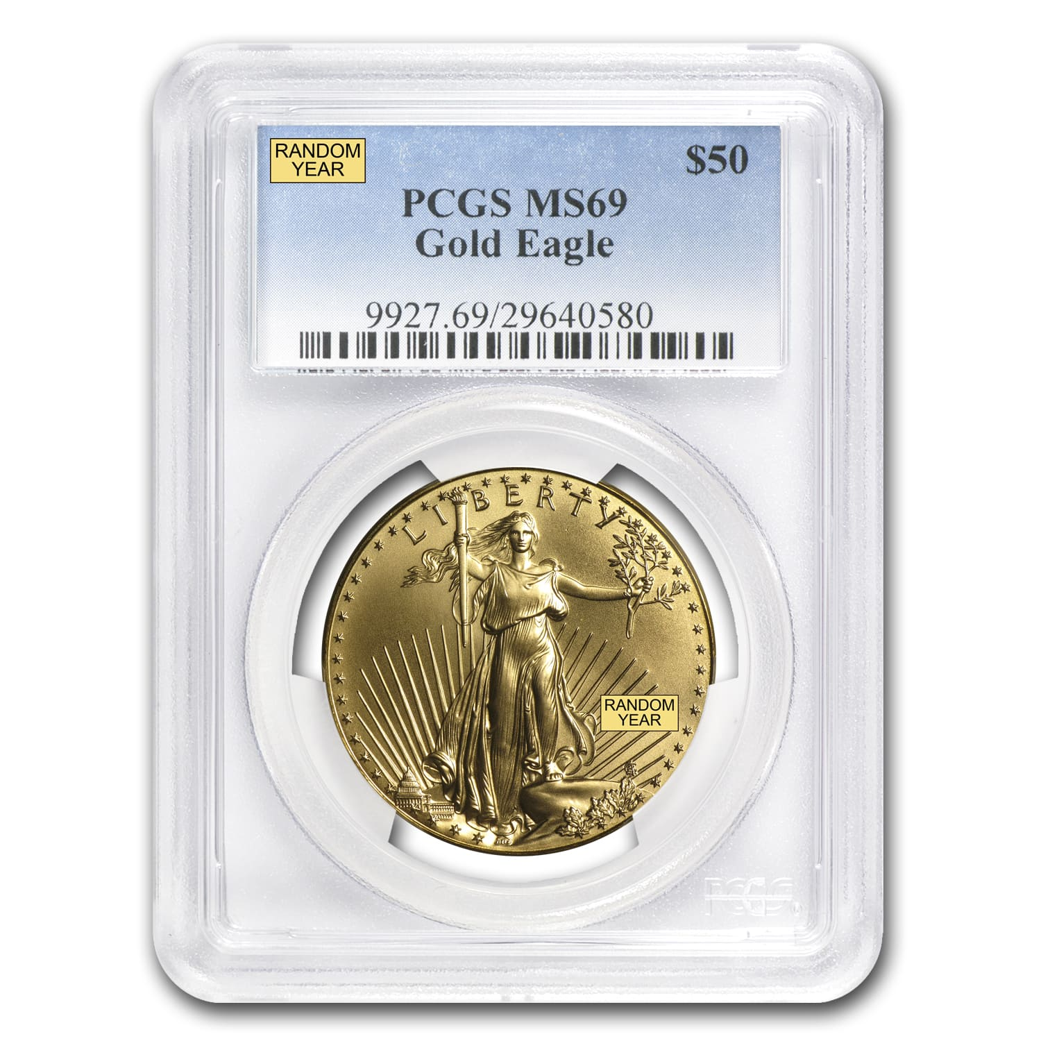 (Random Year) 1 oz Gold American Eagles MS-69 PCGS