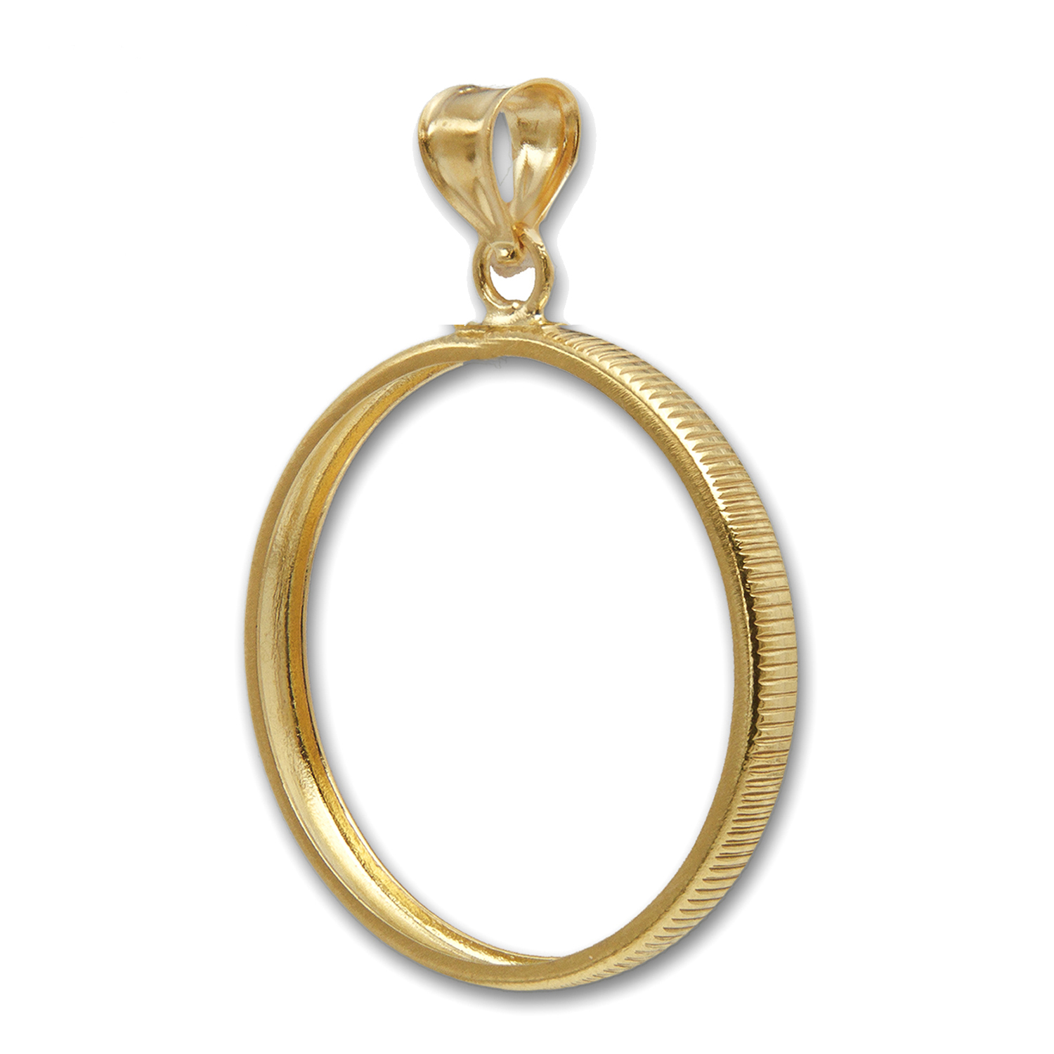 14K Gold Plain Prong Back Coin Bezel - 34.2 mm