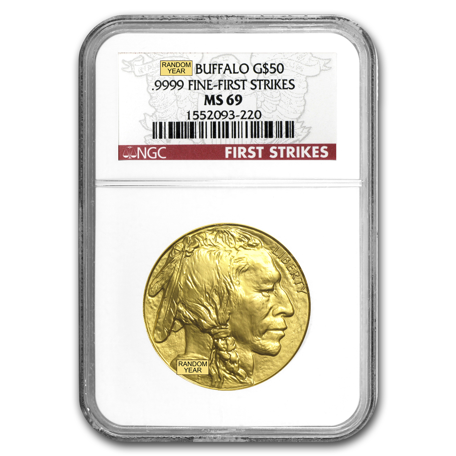 1 oz Gold Buffalo MS-69 NGC (Random Year)