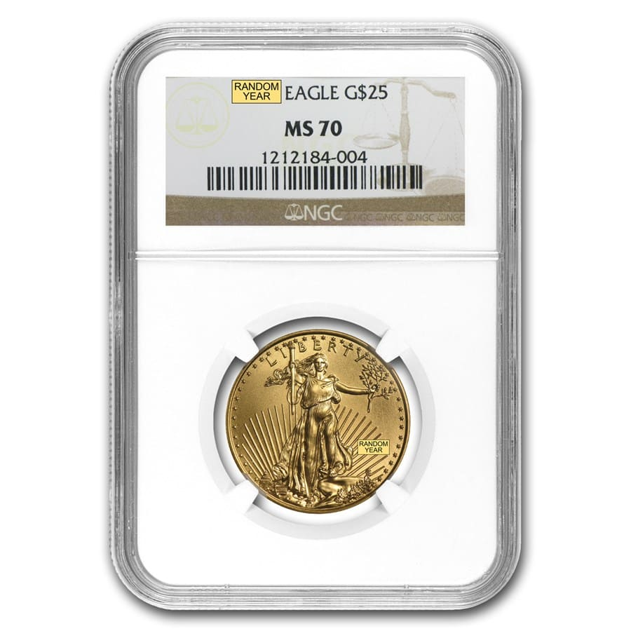 1/2 oz Gold American Eagle MS-70 NGC (Random Year)