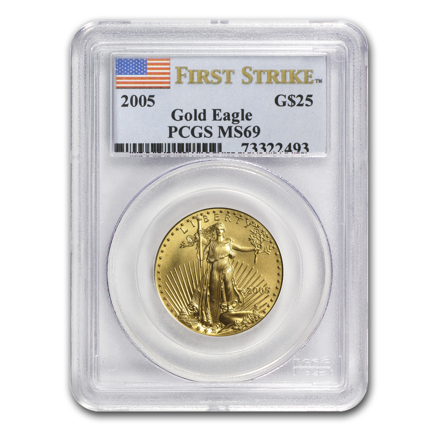 1/2 oz Gold American Eagle MS-69 PCGS (Random Year)